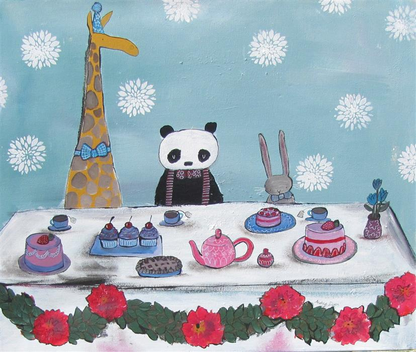 """A Very Fancy Tea Party  (20"""" x 24"""") by Andrea Doss, acrylic painting"""