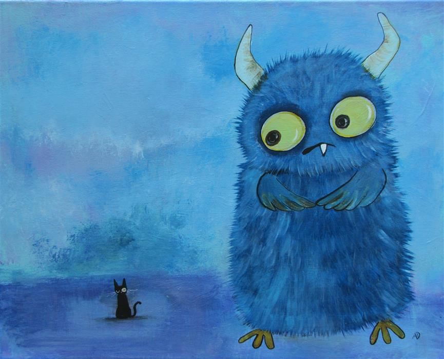 """Gerald and The New Friend  (16"""" x 20"""") by Andrea Doss, acrylic painting"""