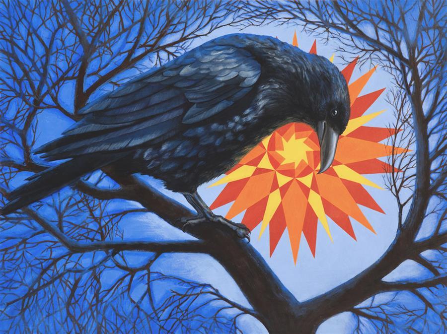 "Corvos Con Sol  (18"" x 24"")  by Jennifer Wildermuth Reyes, oil painting"