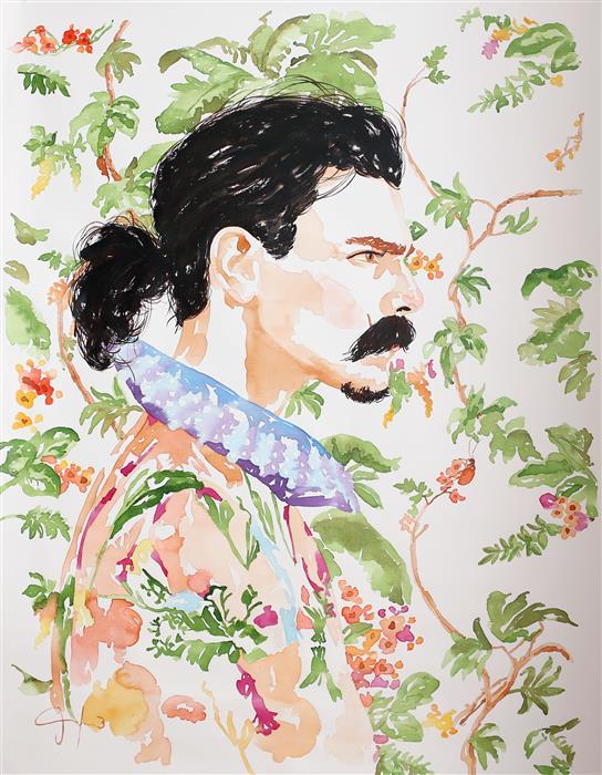 "Sir Edward XVII  (41"" x 32"") by Carlos Gamez de Francisco, watercolor painting"