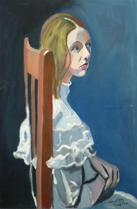 """Girl in the Wooden Chair  (36"""" x 24"""")by Carolyn Schlam, oil painting"""