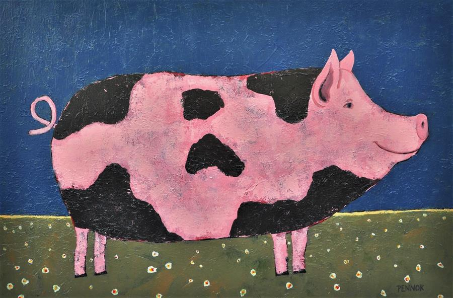 """Happy Pig  (24"""" x 36"""") by Carolyn Pennor, acrylic painting"""