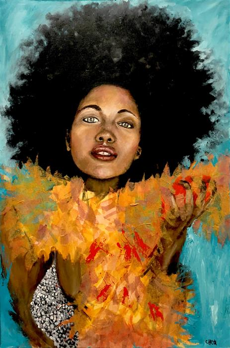 """Girl Be Humble  (36"""" x 24"""") by Christa Forrest, acrylic painting"""