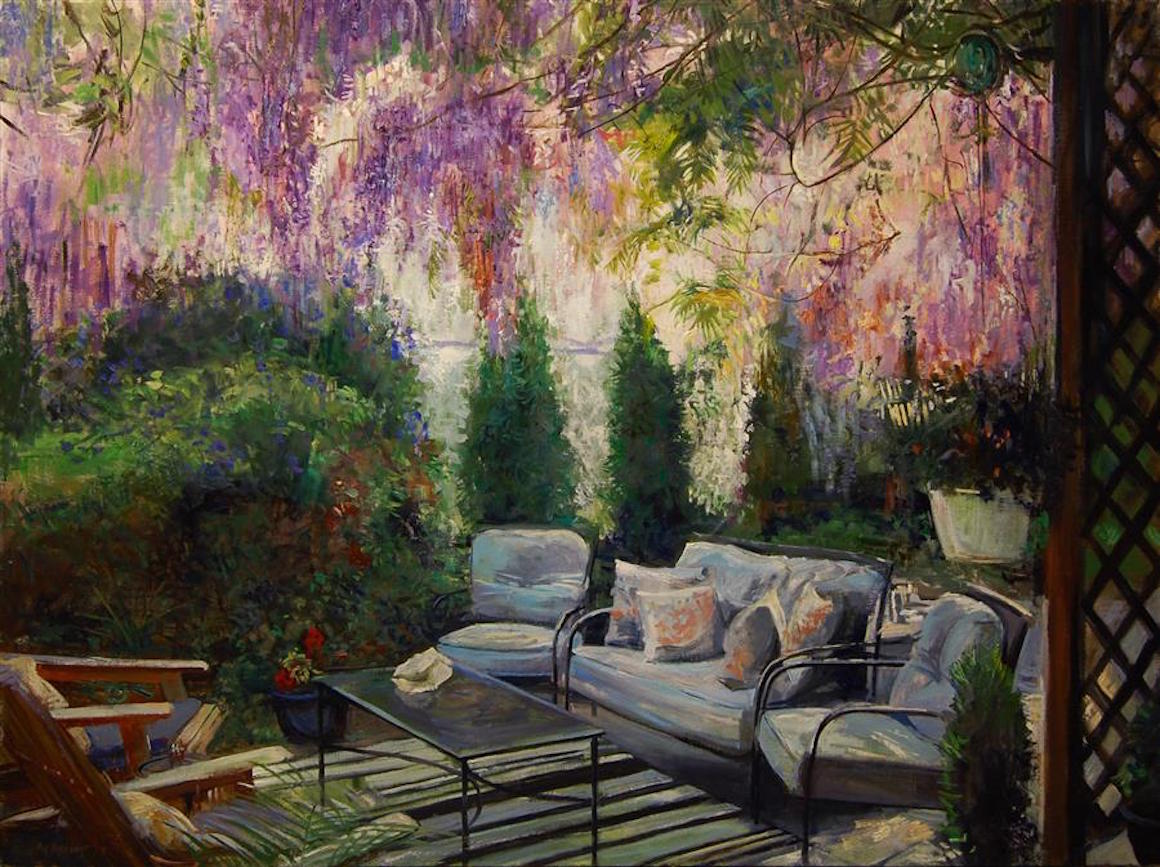 Wisteria Cascade  by Onelio Marrero, oil painting