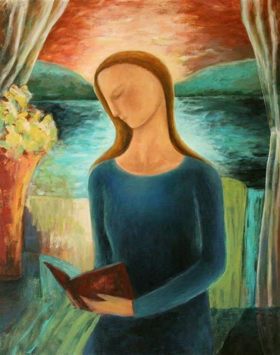 Woman Reading By The Lake  by Naoko Paluszak, oil painting
