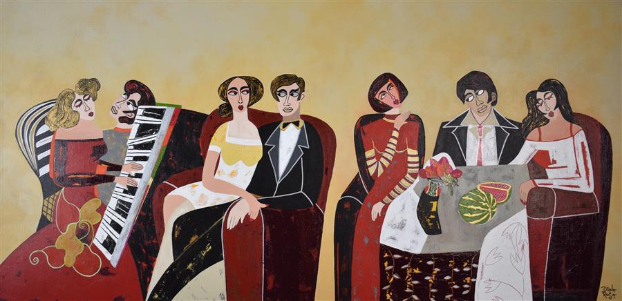 """Piano Rehearsal  (24"""" x 48"""") by Diana Rosa, acrylic painting"""