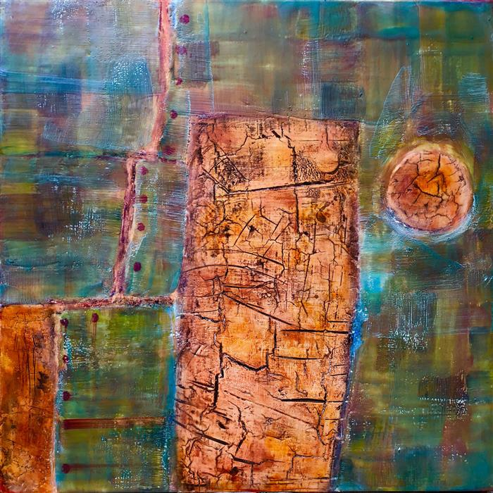 "Stone Cold Silence  (20"" x 20"")     by Lisa Bick, encaustic"
