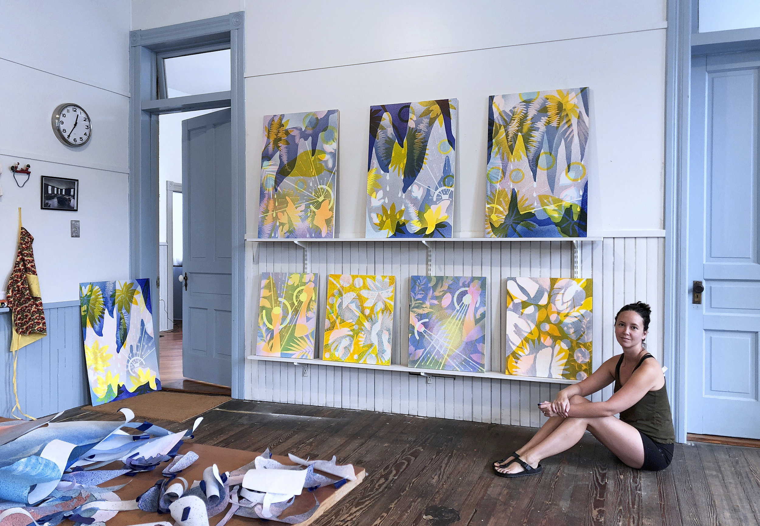 New UGallery artist Maria Stabio in front of her artwork.