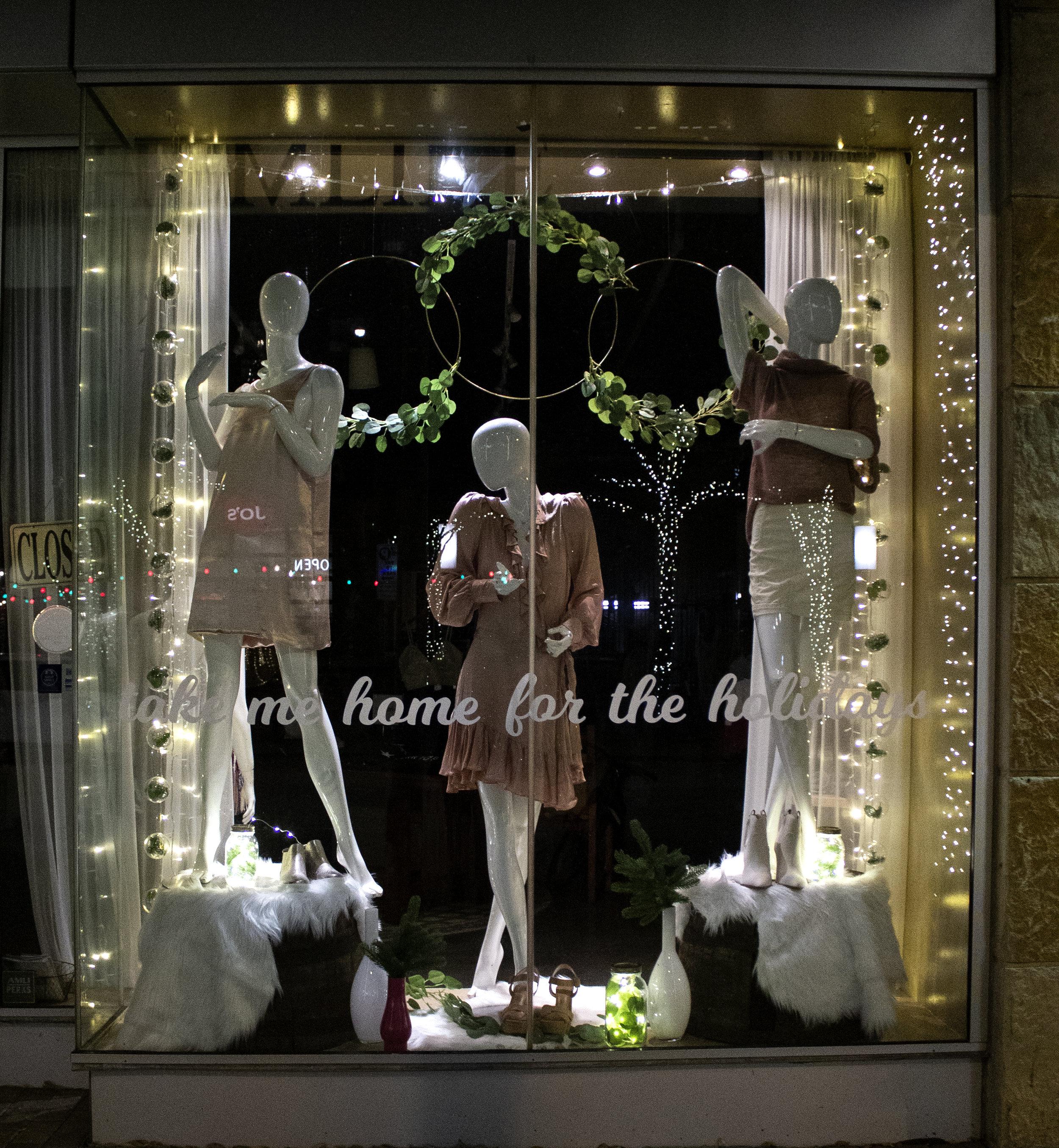 Hemline Window Display - window display design showcased in Austin's 2nd Street District during the winter holiday season
