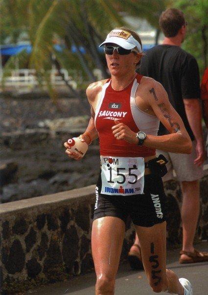 Kim running in an ironman triathlon