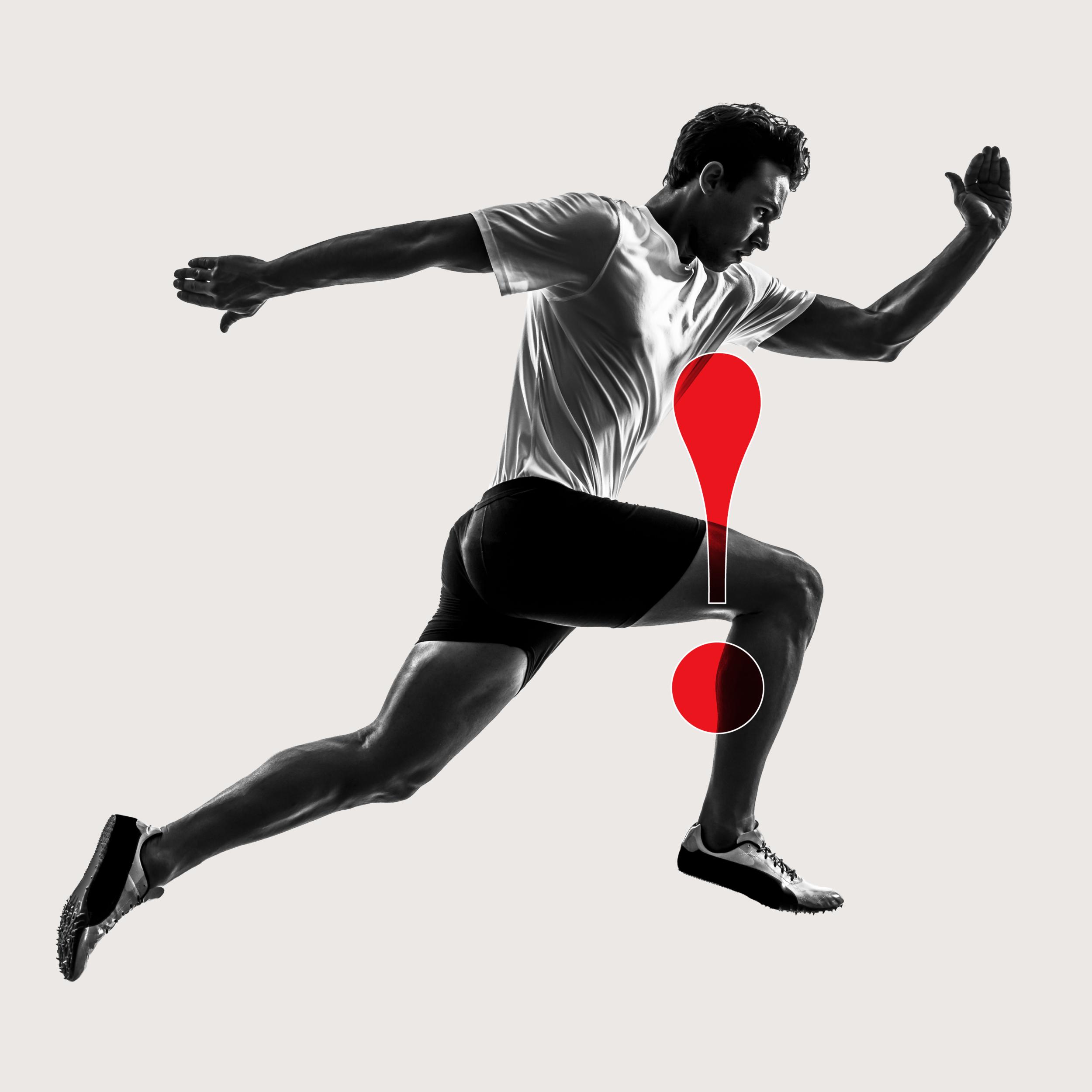Man mid-run experiencing man in calf