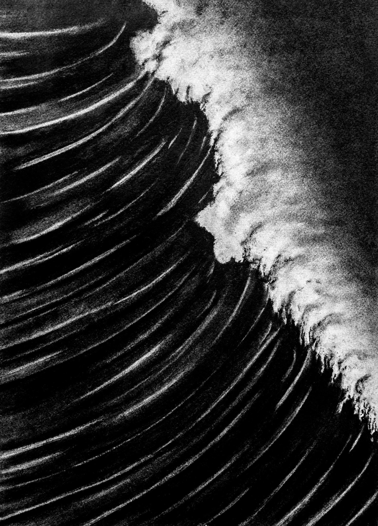 THE WAVE  ORIGINAL CHARCOAL DRAWING 18x24  $300