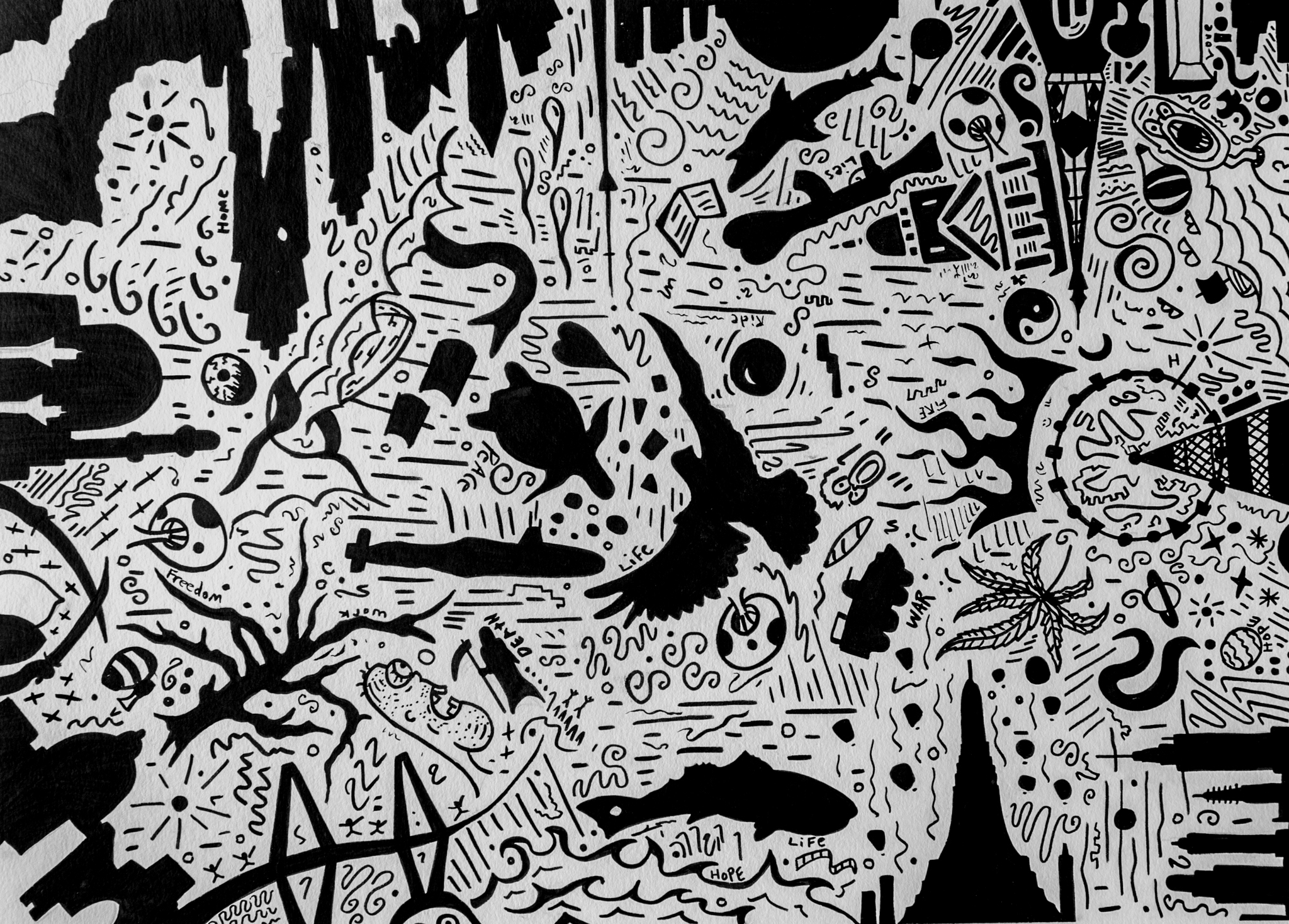 MIND ORIGINAL PEN AND INK DRAWING 18x24  $250