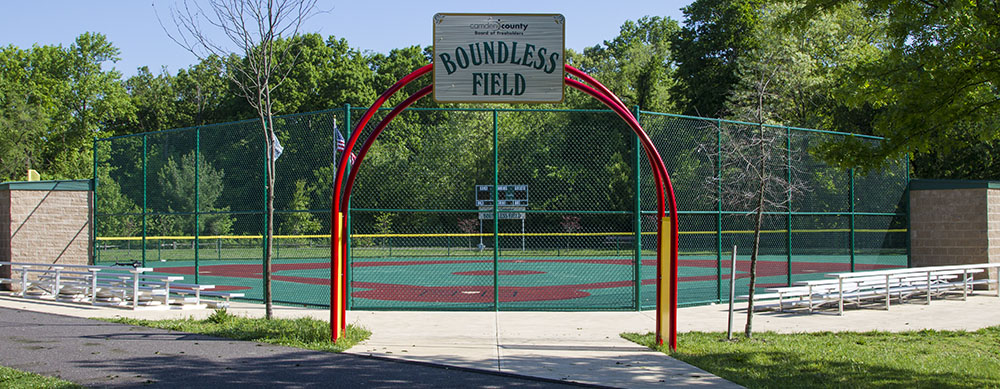 Boundless Field is a handicap accessible baseball field with a cushioned, synthetic surface that accommodates wheelchairs and other assistive devices. It's also the official home of the Camden County NJ Miracle League ( ccnjml.org ).