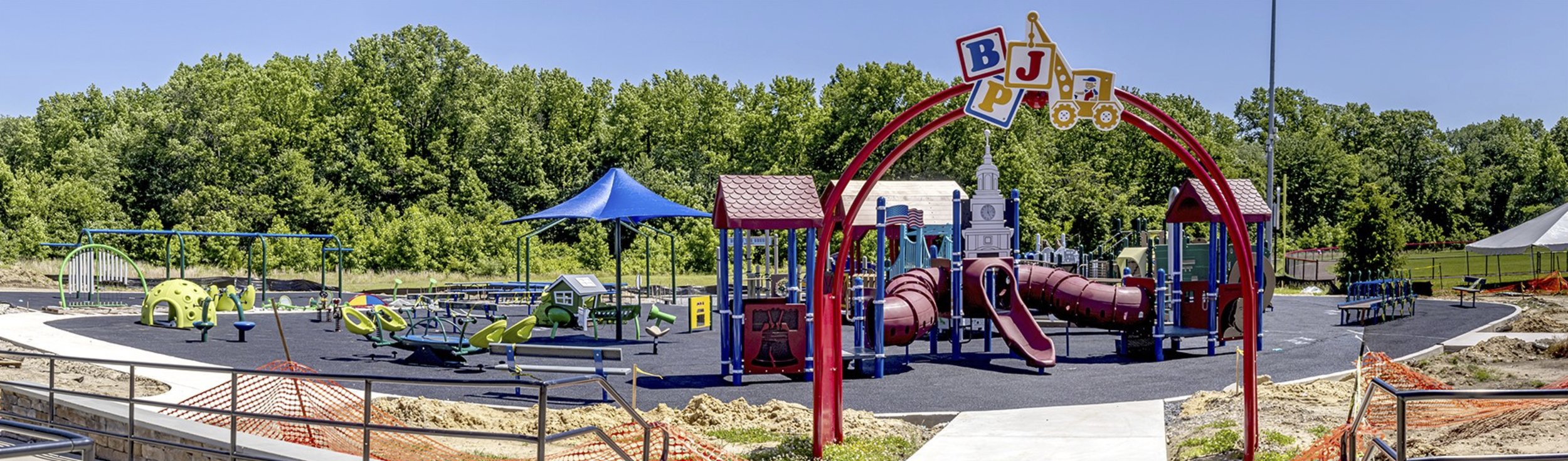 This is not the finished look of the playground at Delran. The rubberized surfacing is still being installed.
