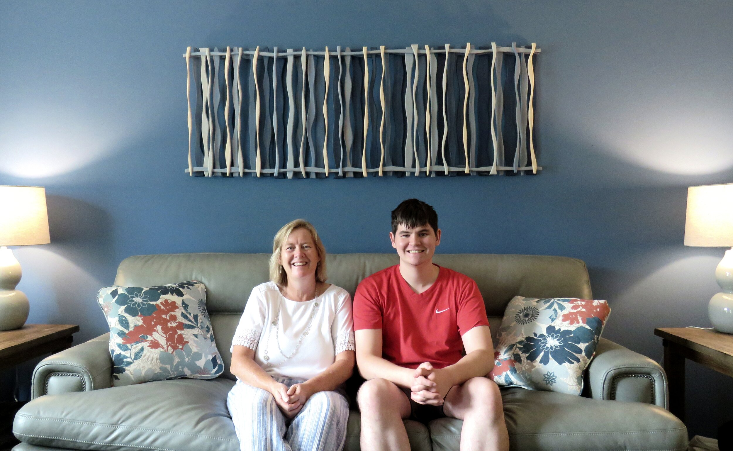 "Blue Hawaii - acquired by Jean (pictured with son, Christopher) in Kirkwood, MO. 66""x24"""