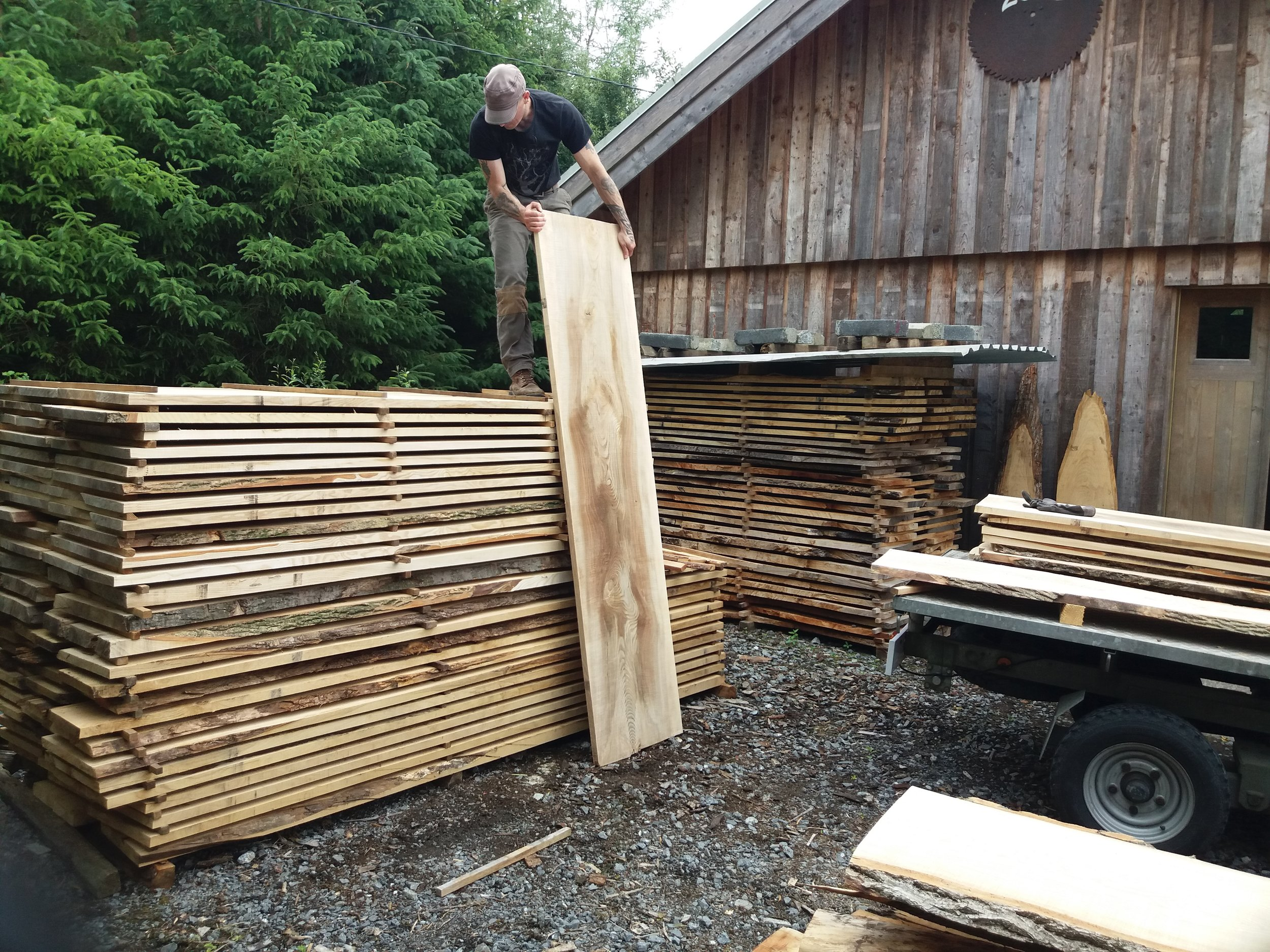 Air drying the timber outside for at least two summers.