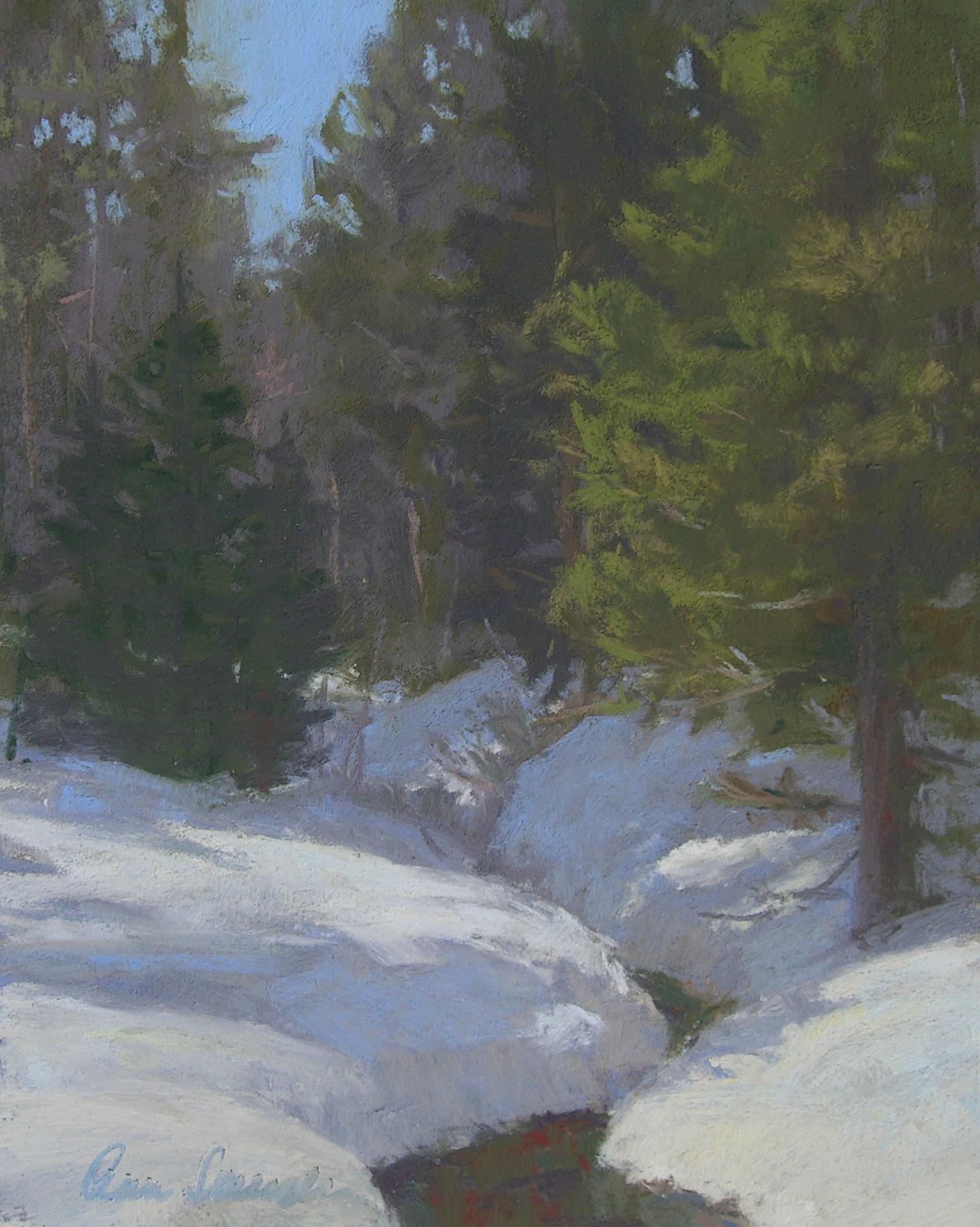Snow Creek, pastel, 10x8