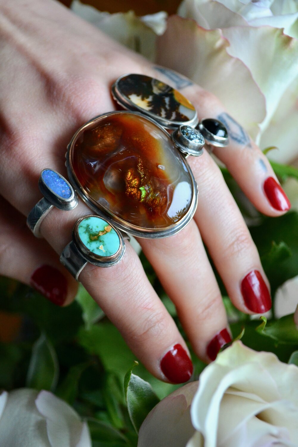 Cave Art Fire Agate Ring