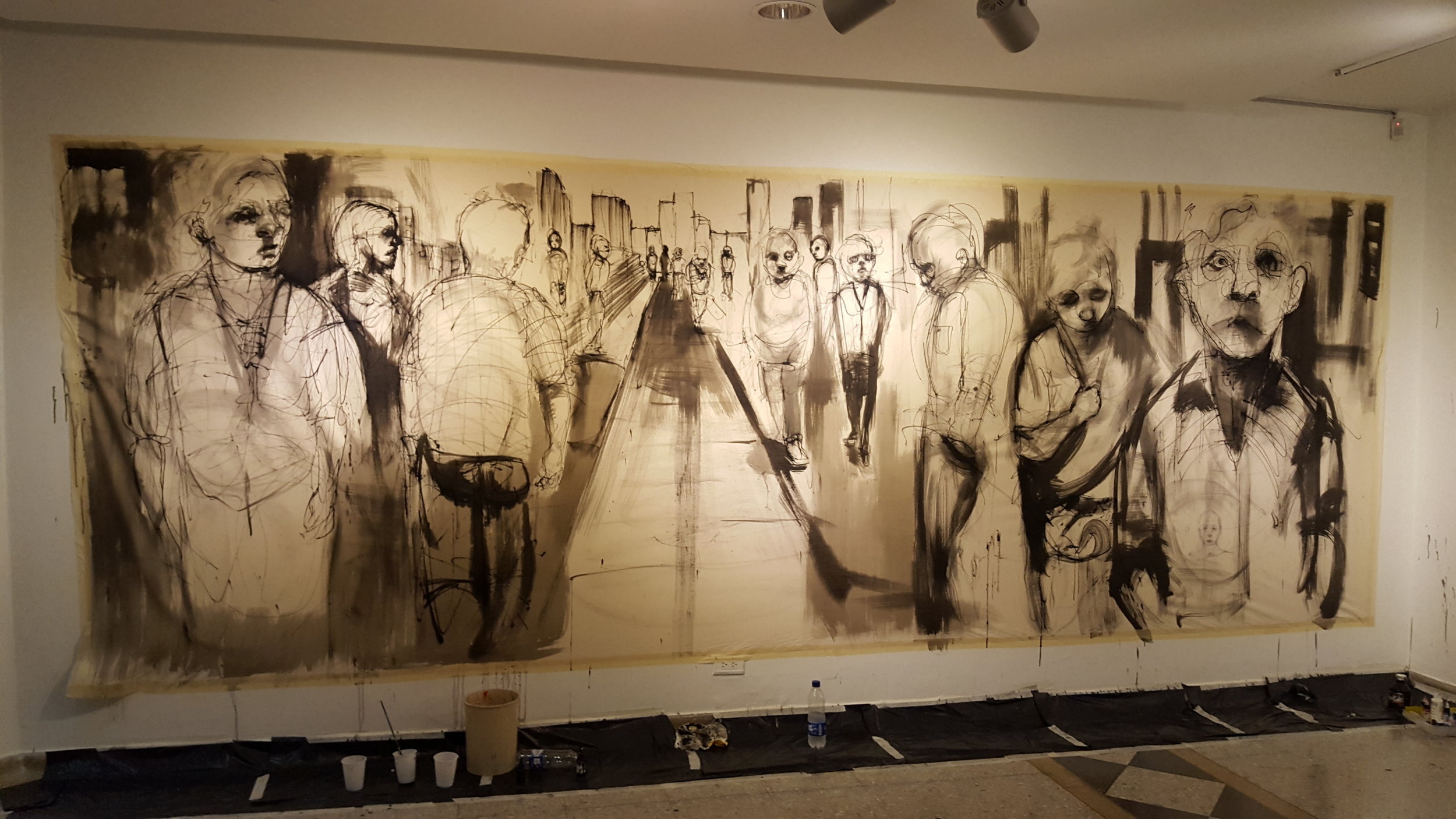 Large scale art work painted live at Gallery Carlos Drew in Pereira, Colombia