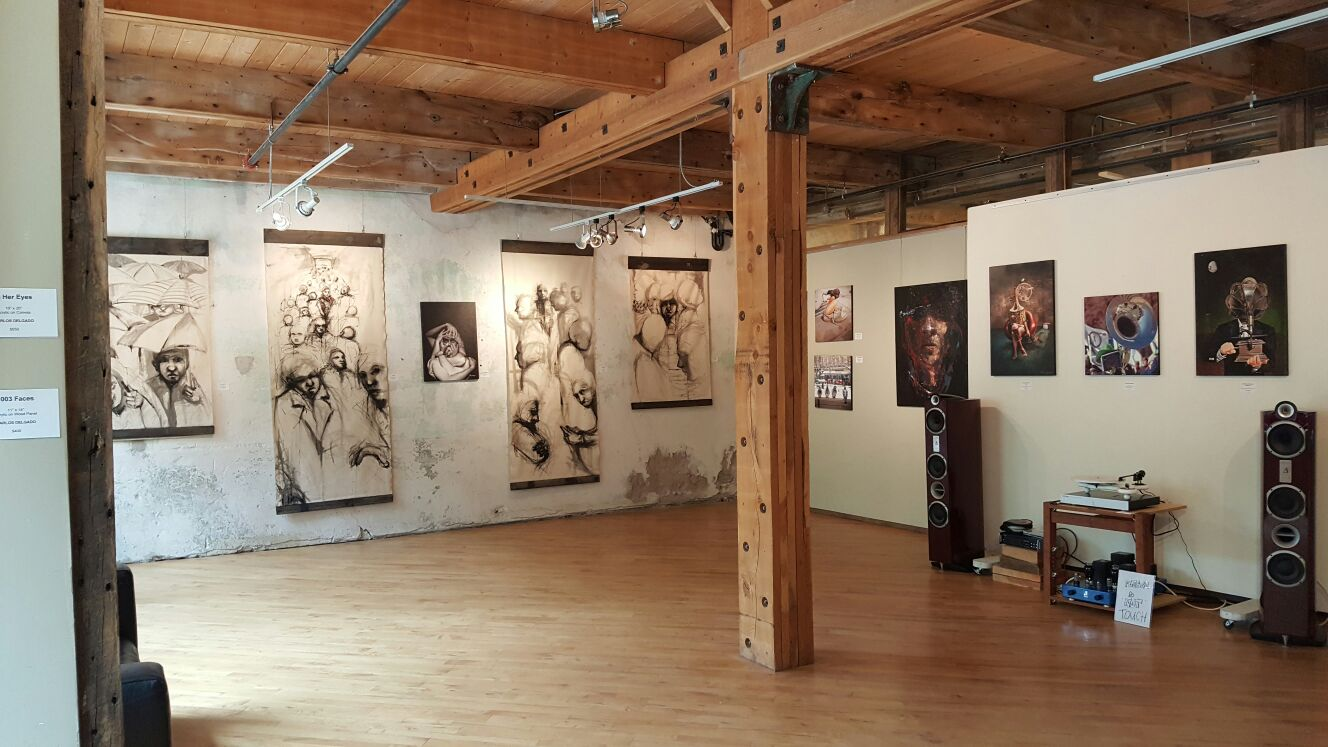 Partial gallery view of dual art show at Bartlett Gallery in Alton Arts Mill Centre in Canada.