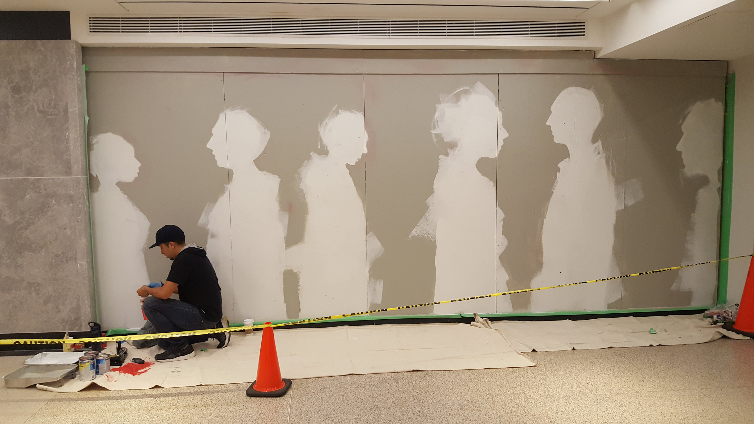 Culture Days live mural painting at Union Station, Toronto by visual artist Carlos Delgado