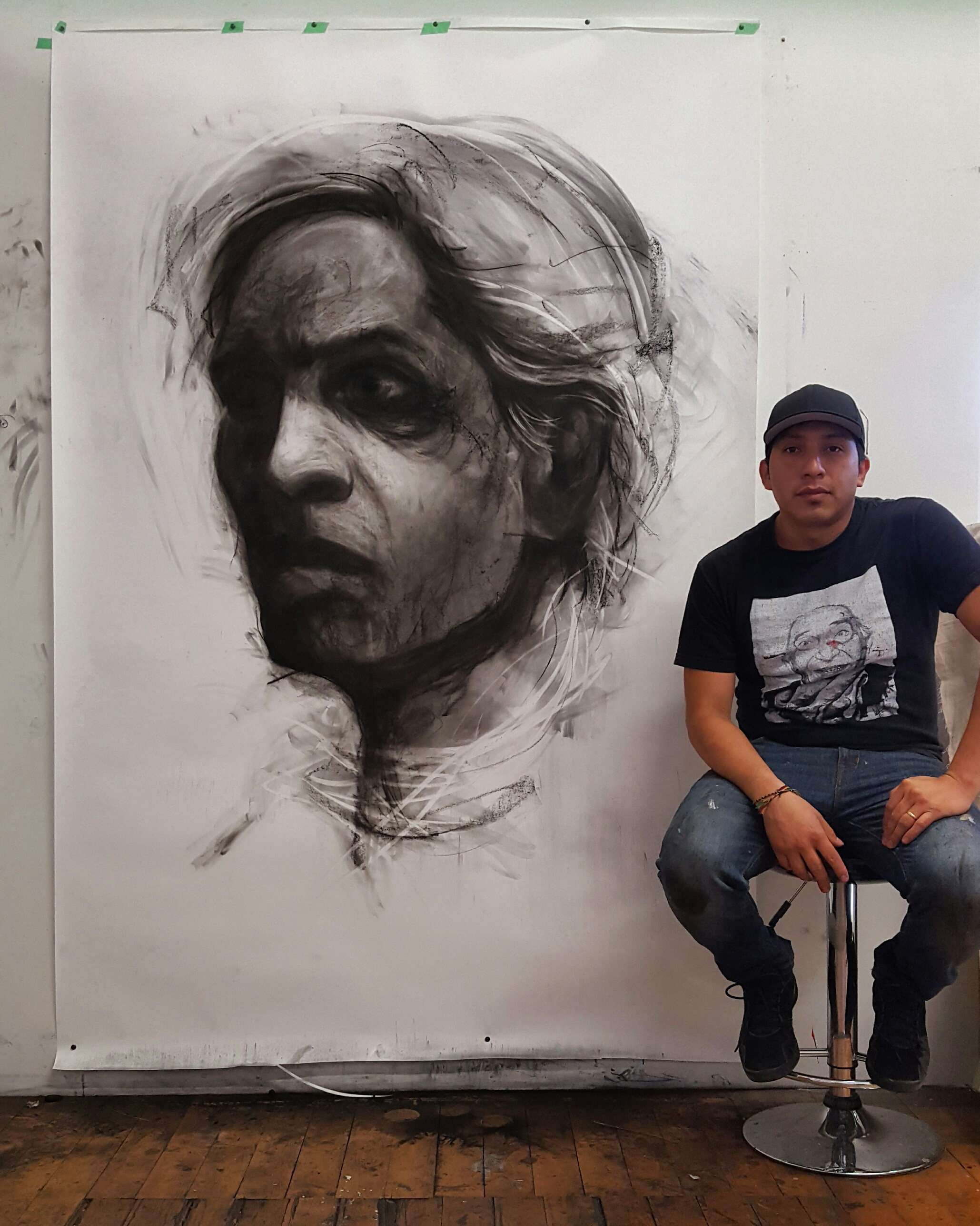 Completed large scale drawing and artist in Walnut Studio.
