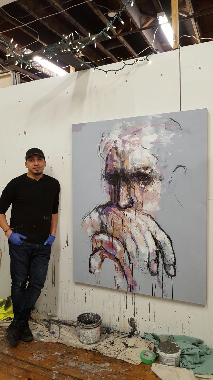 Large abstract portrait ready to ship to Ireland, Europe.