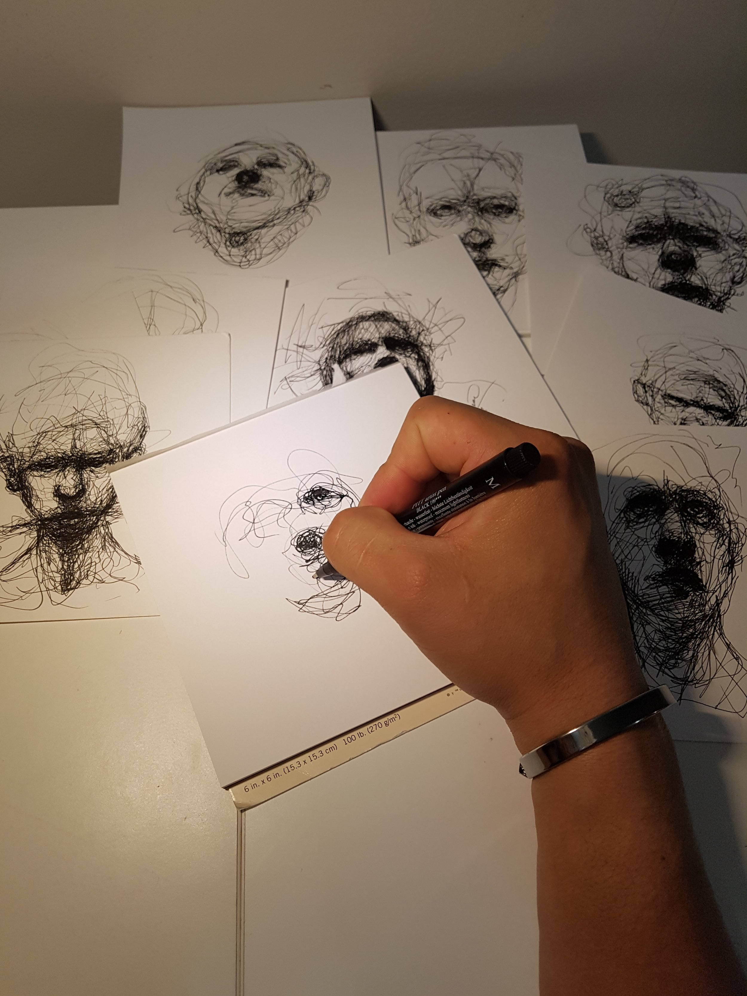 Sketching some portraits. Artist's life.