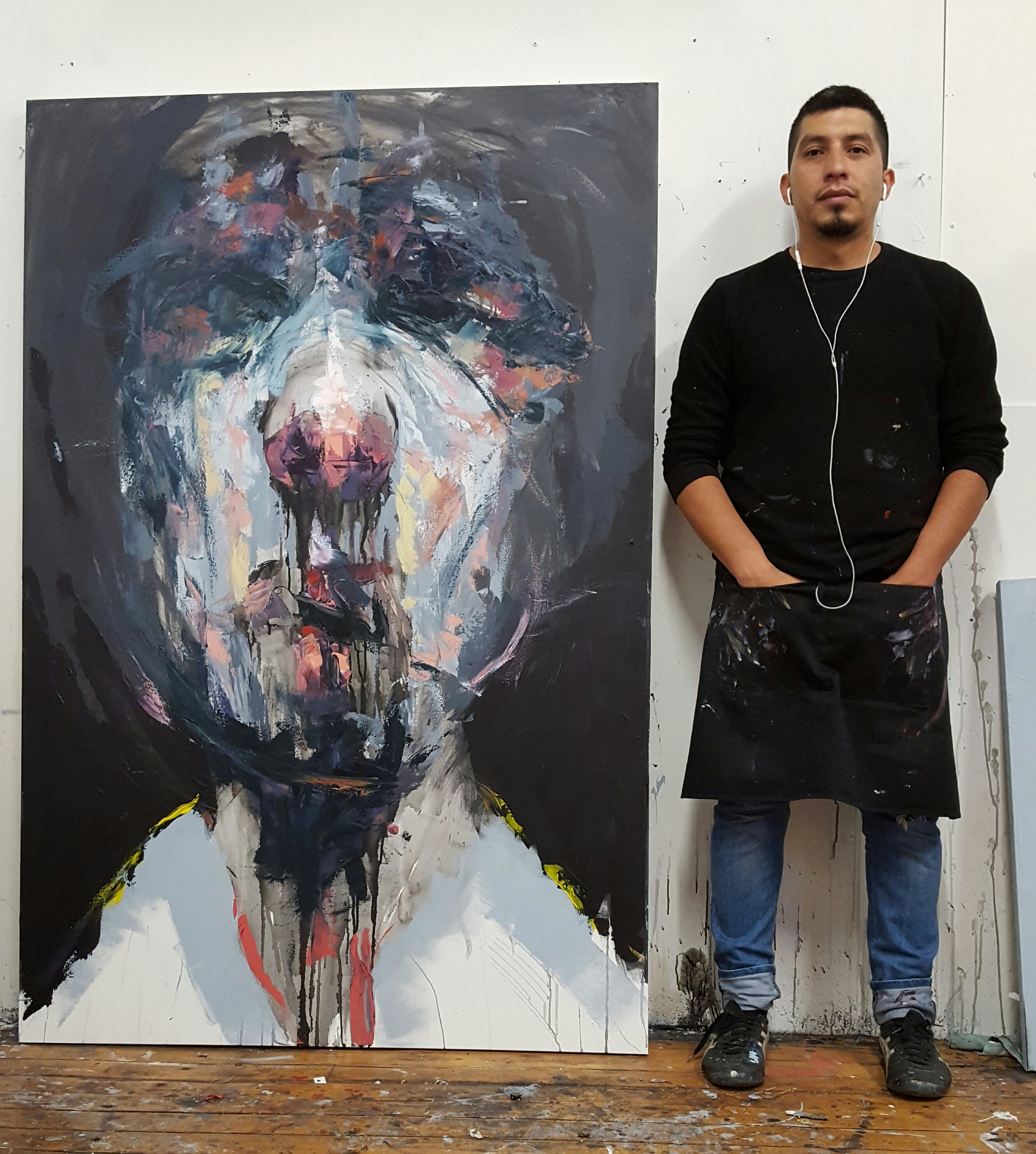 """First dark background large scale abstract portrait """"Neutral"""" in the studio in Toronto."""