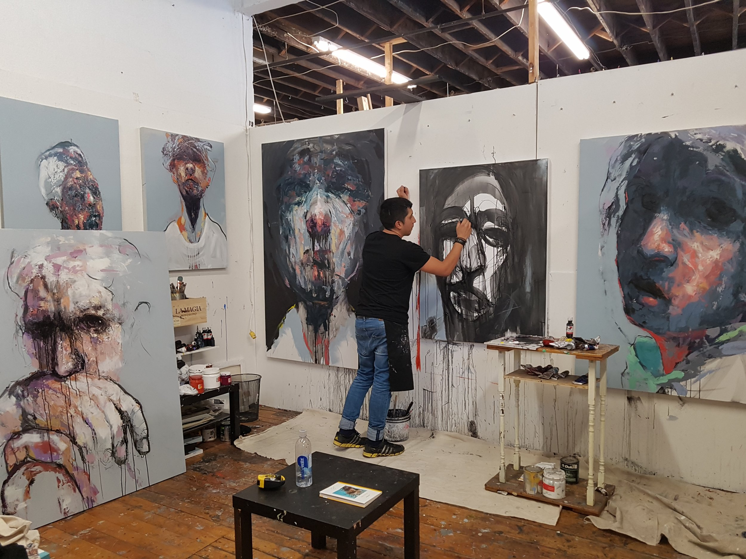 Painting day at my art studio at Walnut Studios in heart of Toronto, Canada.