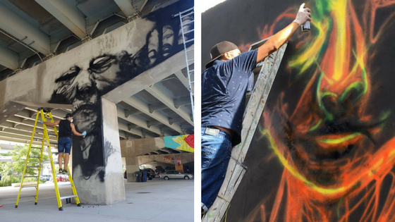 Summer of original style murals with my abstract portraits. From Toronto - Colombia.