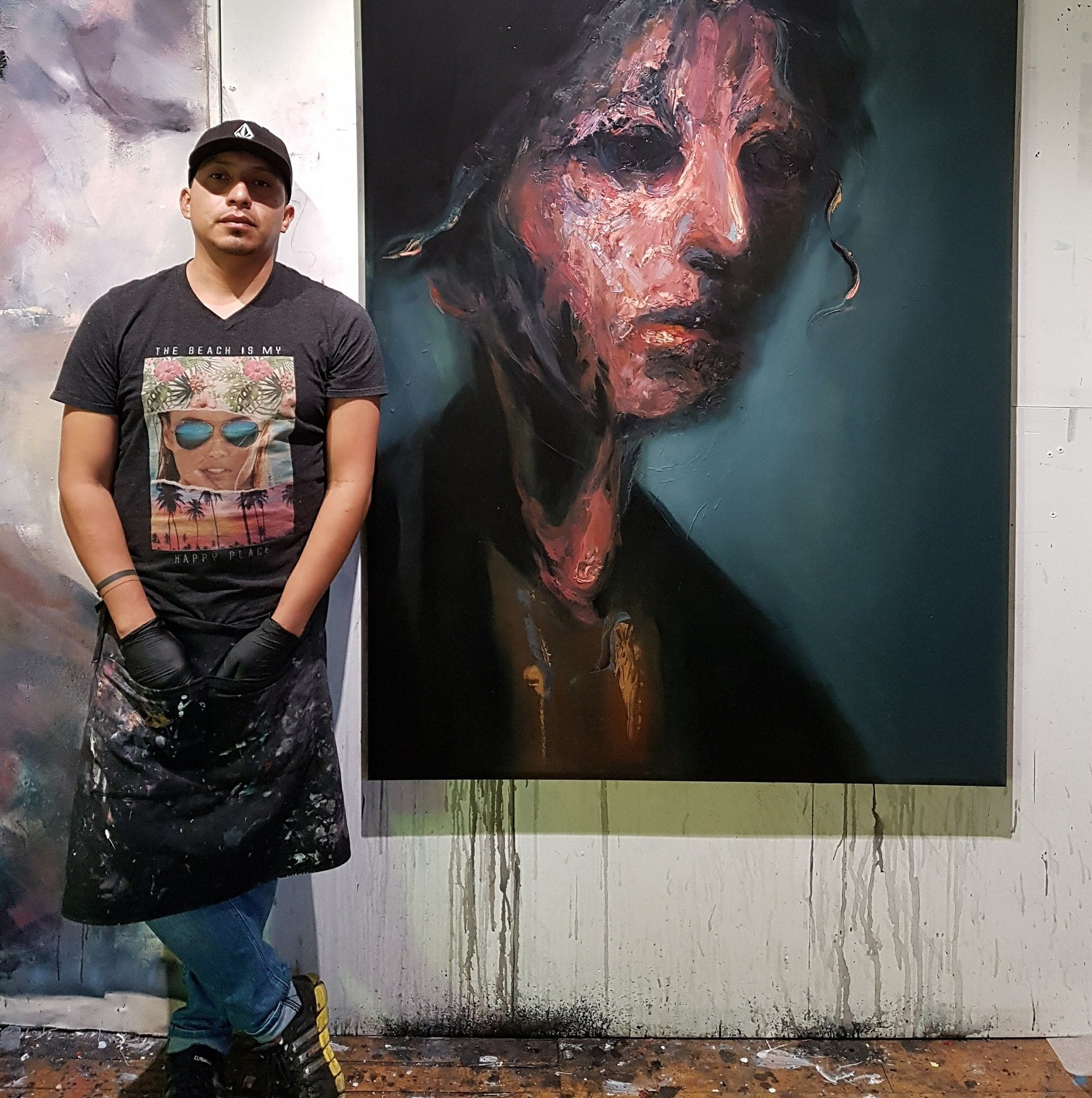 In the artist studio with new work. Toronto