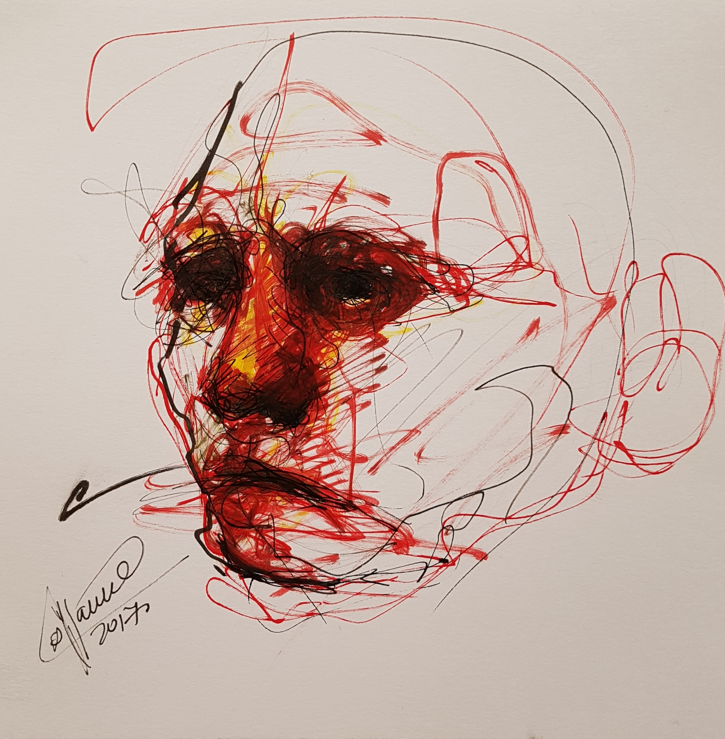 drawing of face looking to the horizon, on marker