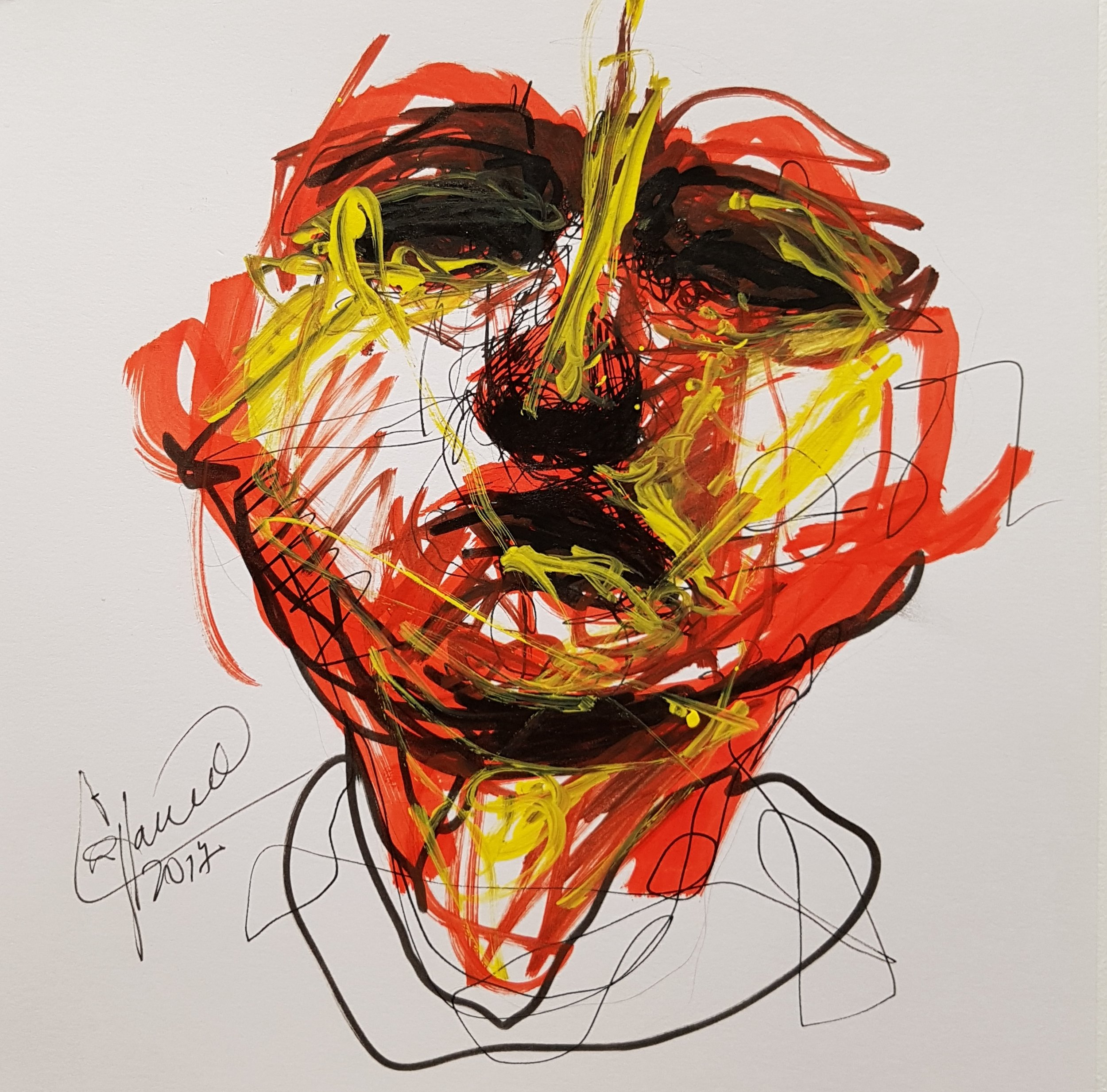 drawing of person with the head up, scketch on marker