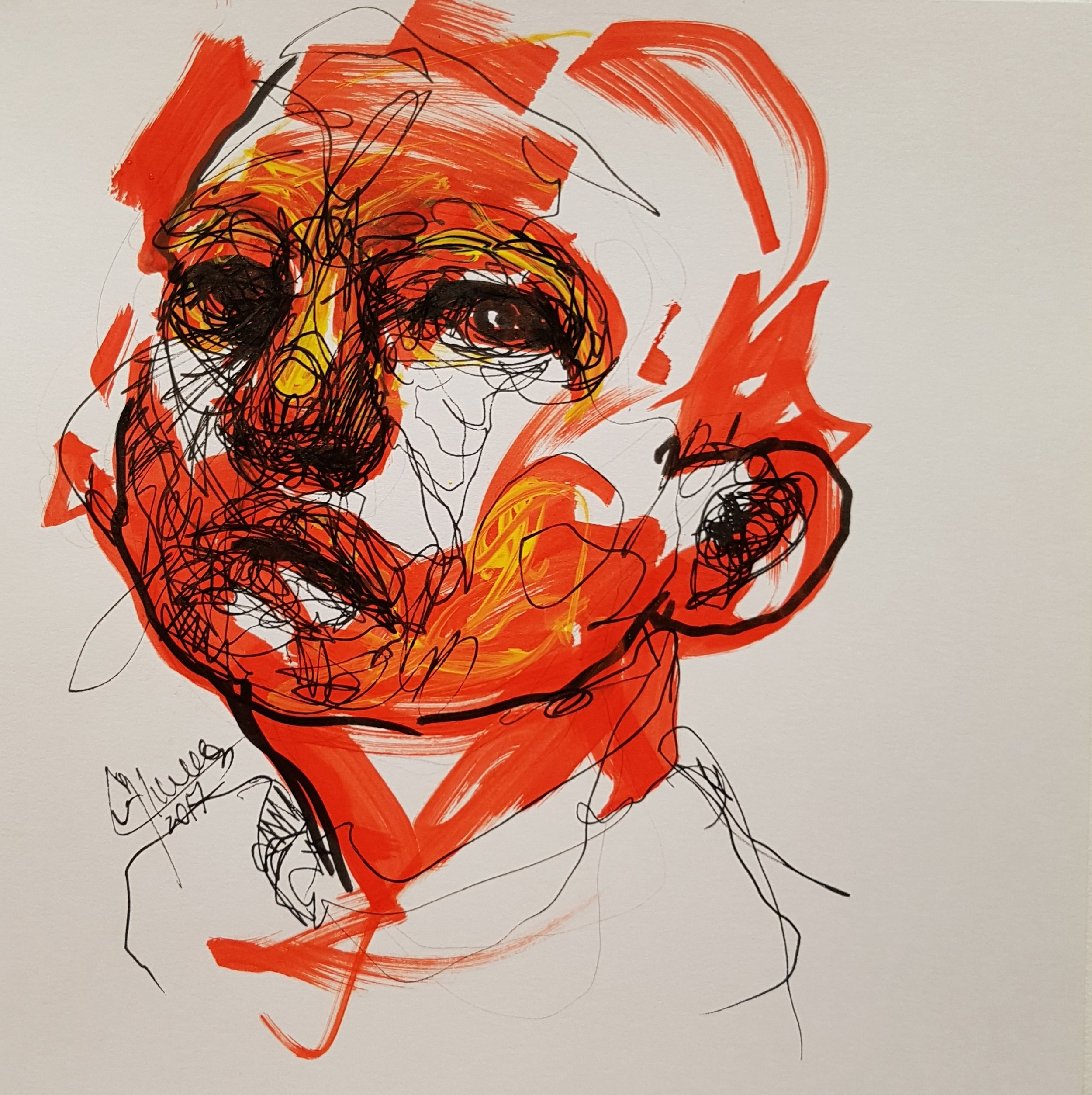 face looking up, abstract sketch with marker