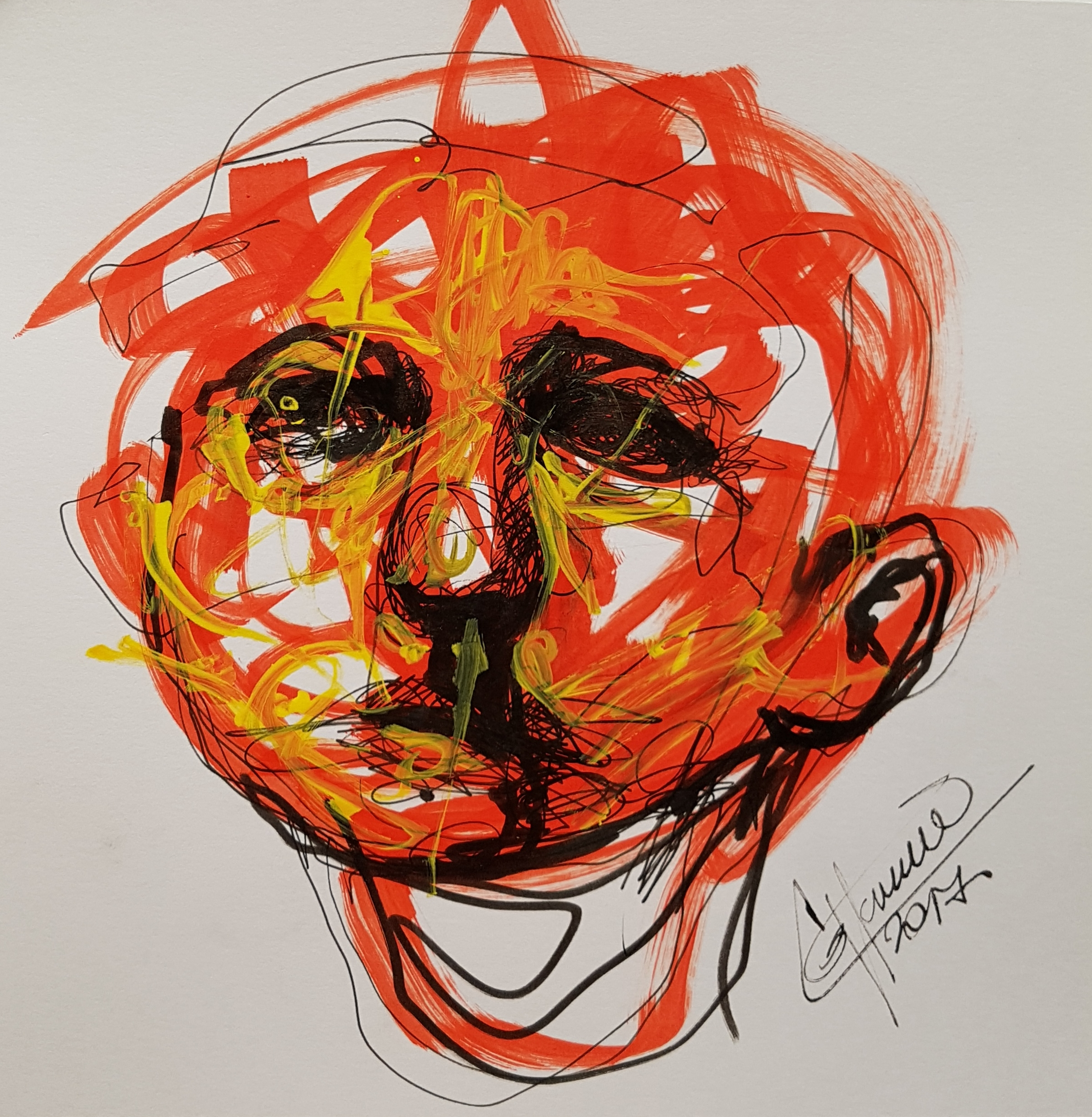 face looking up, sketch on marker red and yellow