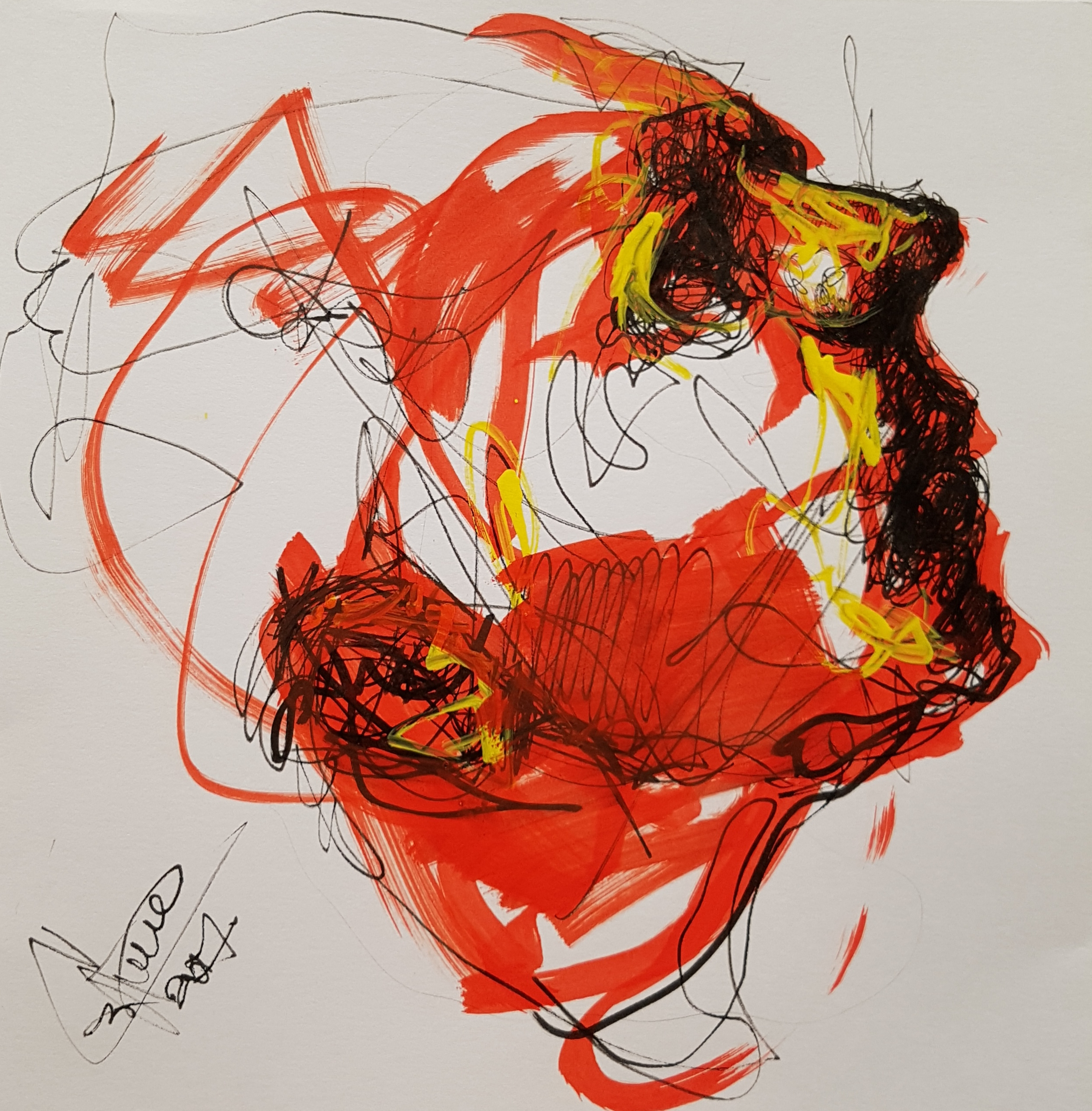 drawing of person screaming to the air, sketch on mmarker