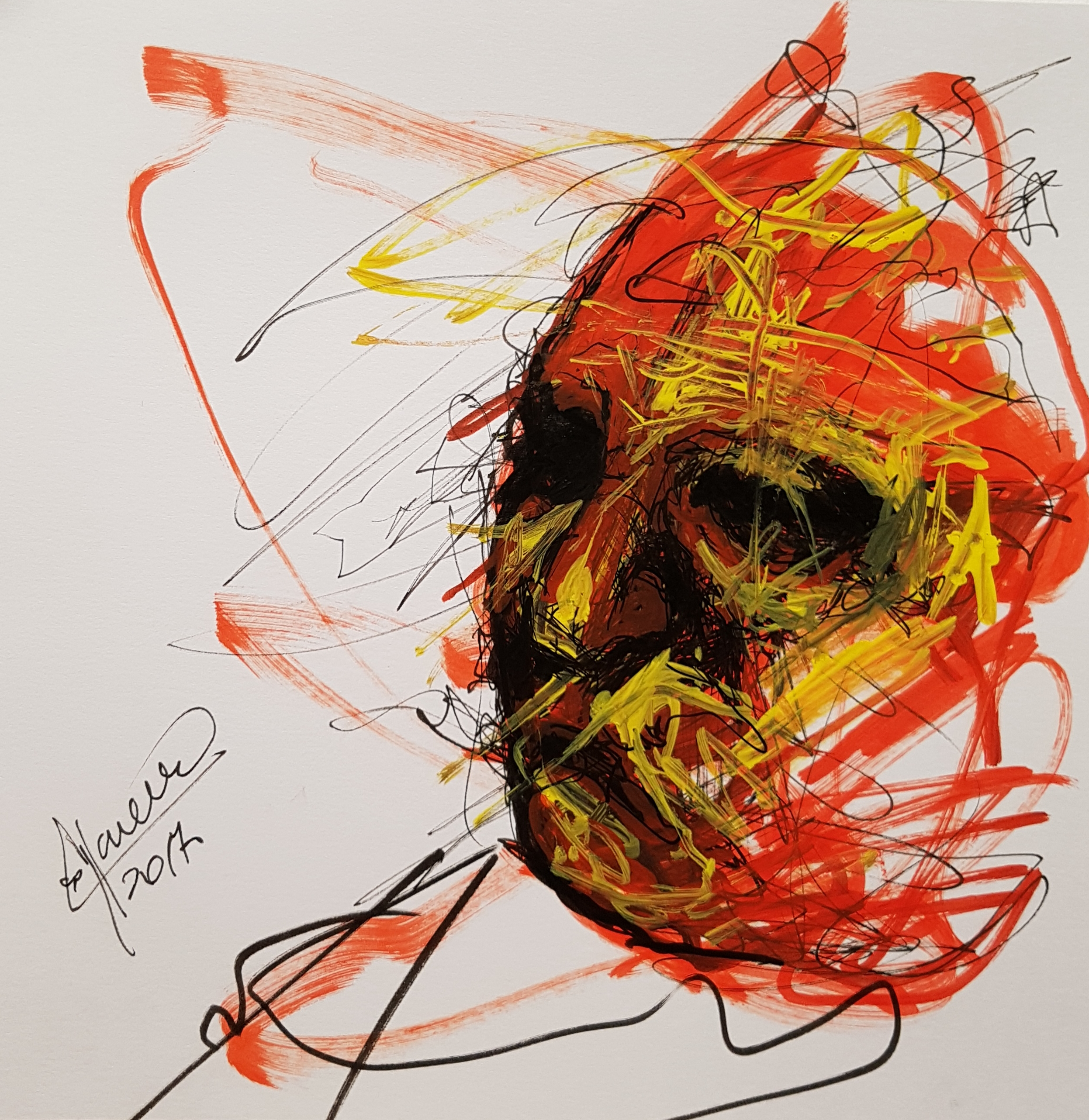 abstract drawing of face, sketch on marker