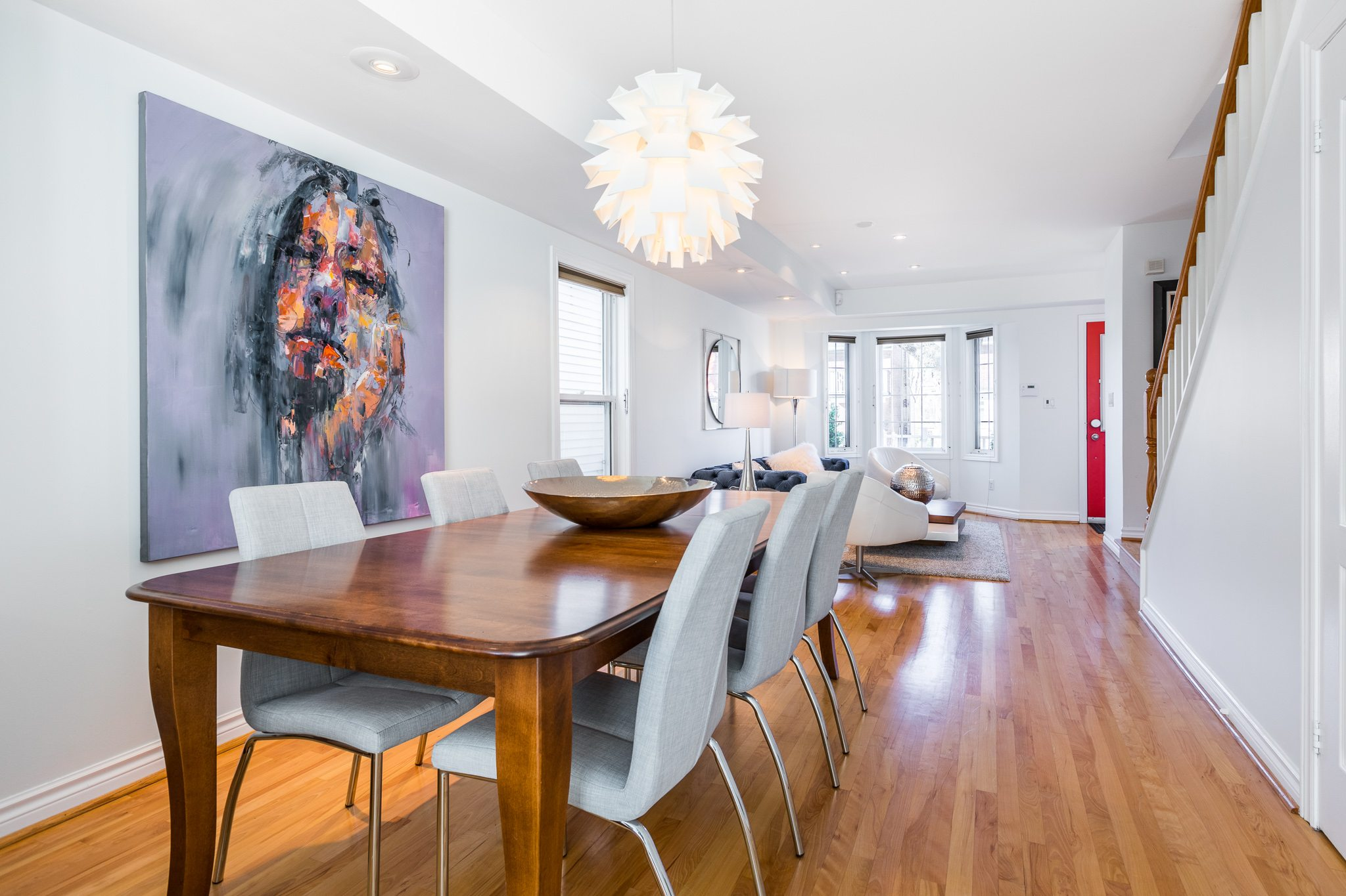 Original contemporary abstract portraits inside home in Toronto.