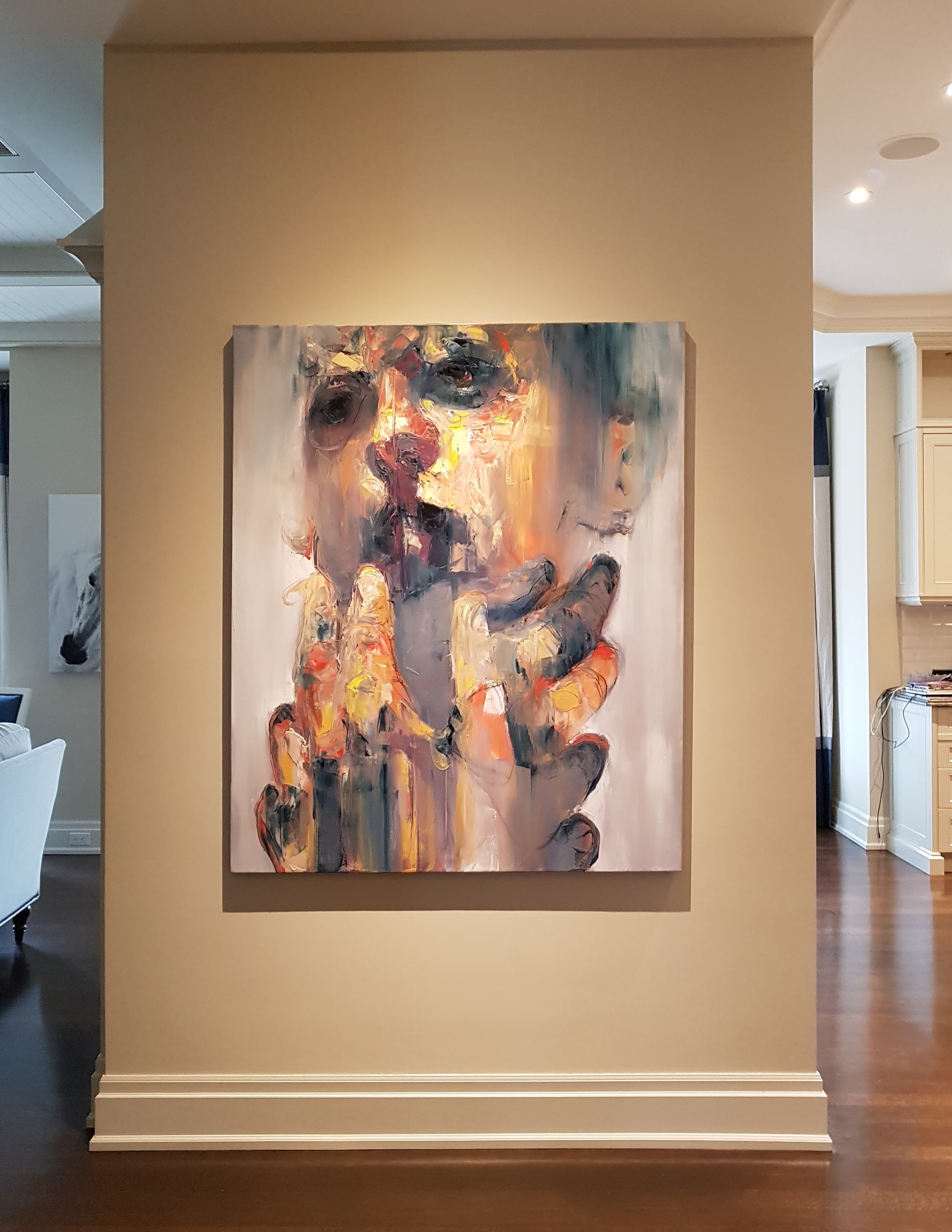Original contemporary abstract portraits inside home in Toronto by Toronto artist