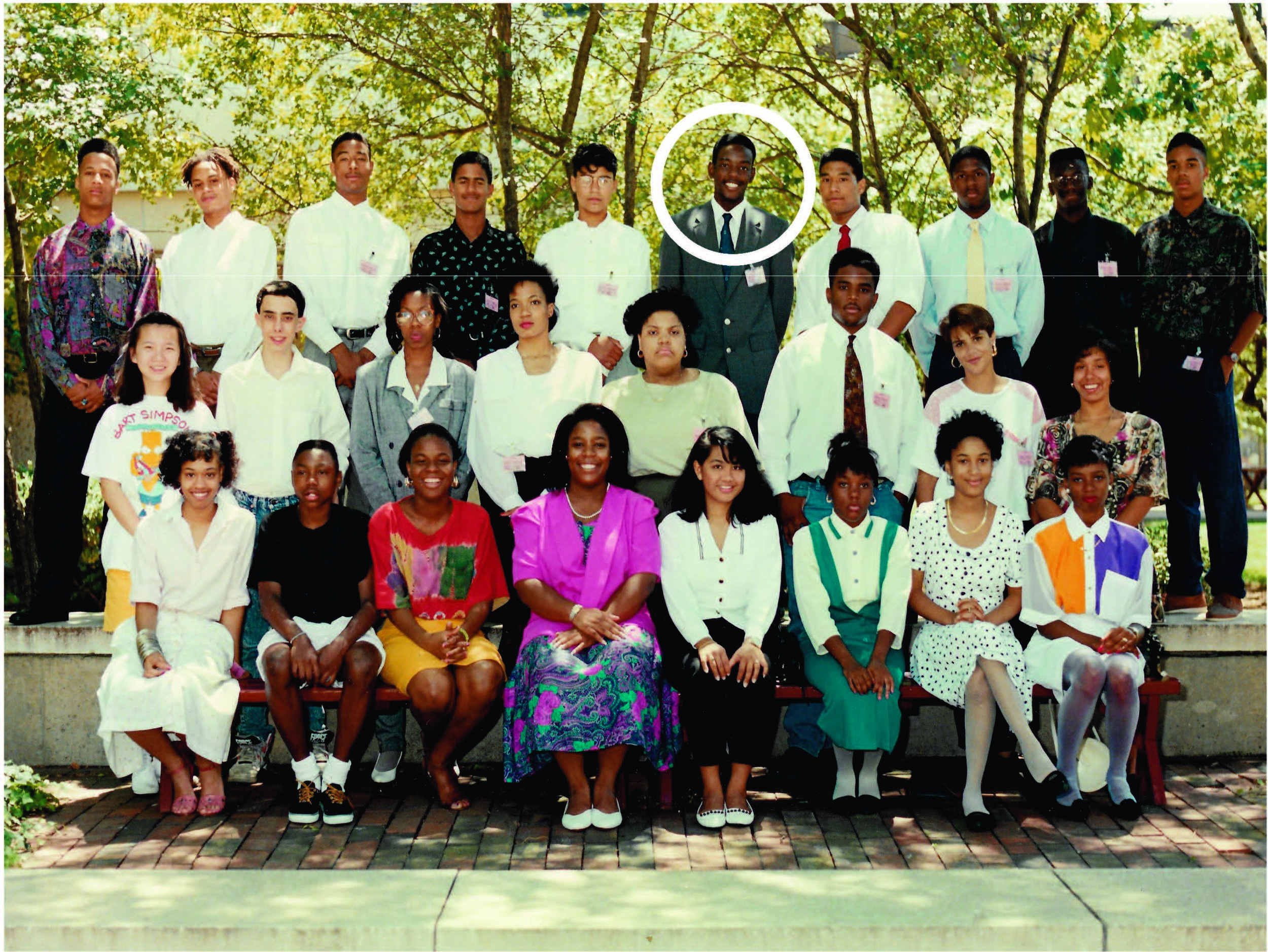 Well suited for success: Jeff Coleman (circle) in Bellcore STEP III program alumni in 1991.