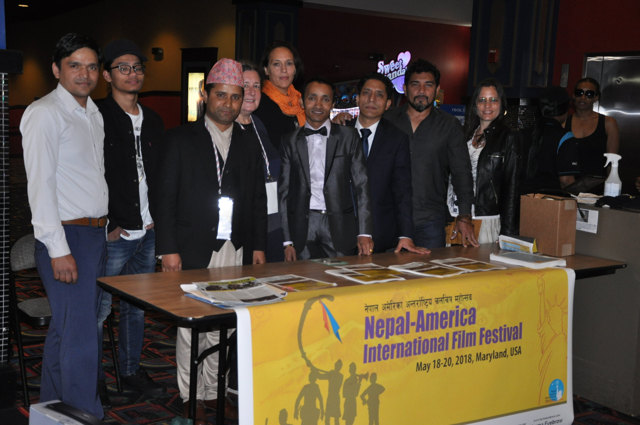 Center screen: Members of the Nepal America Film Society and filmmakers at the Regal Hyattsville Royal Theater where the festival leaders screened nearly 50 films .