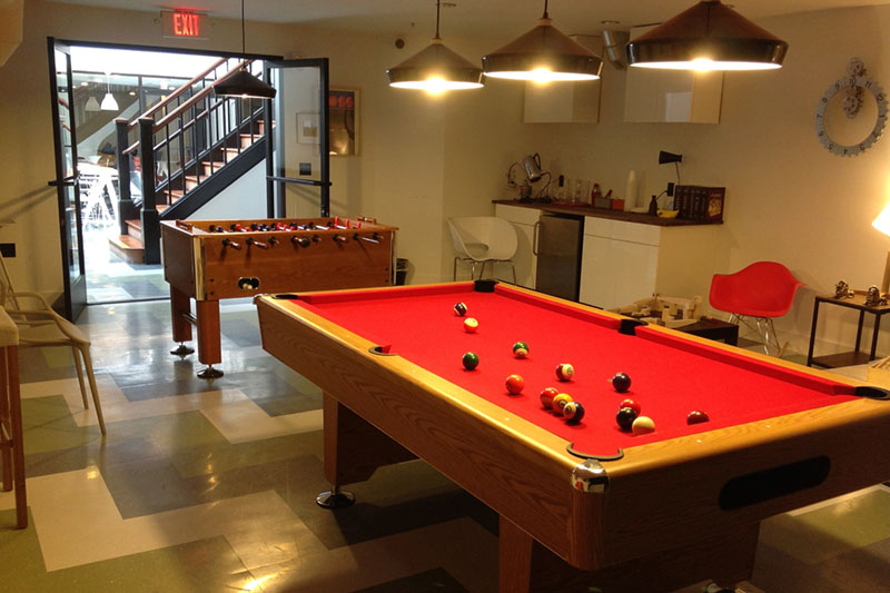At WeWork's co-working office facilities, you will find foosball and pool tables, but you won't find any red meat, pork or poultry as the company tries to reduce its environmental impact. Credit: Yusuke Kawasaki, FlickrCC