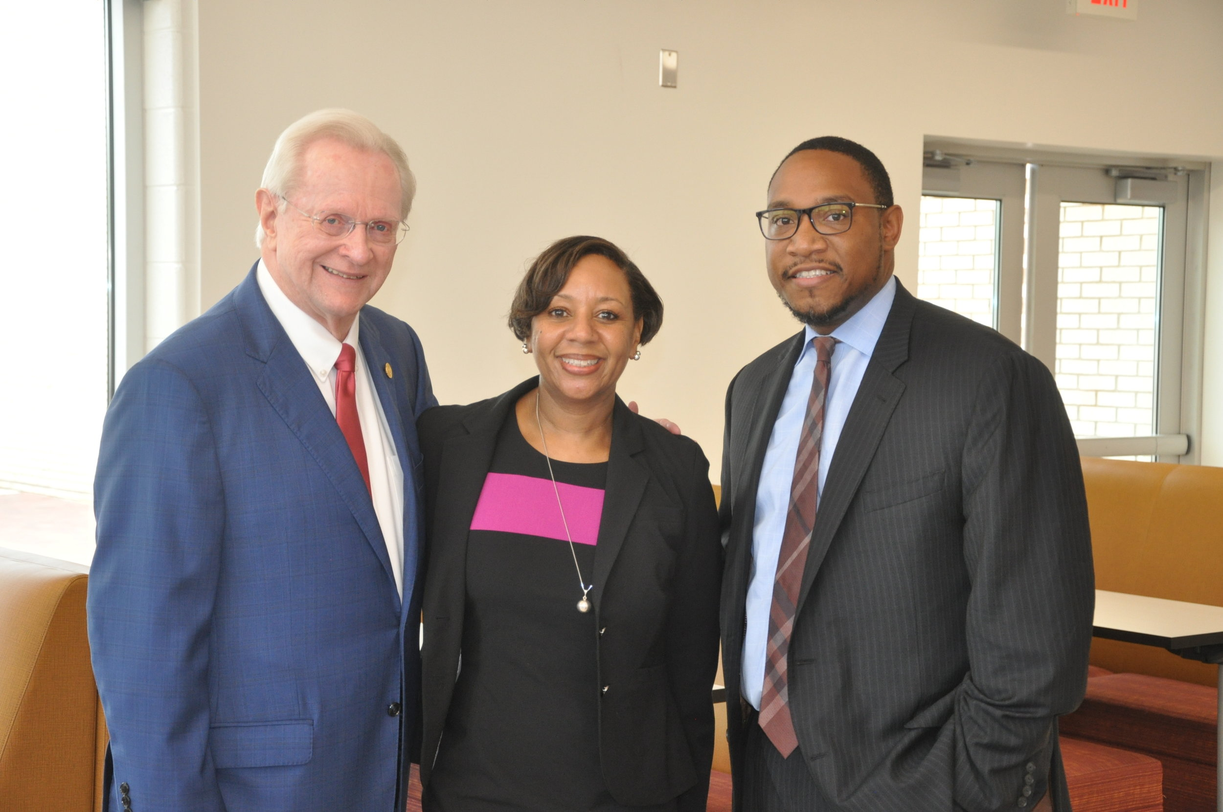New leadership at Prince George's County Public Schools under Interim CEO Dr. Monica Goldson (center) with Greater Prince George's County Business Roundtable President & CEO Jim Estepp (left) and Prince George's County Public Schools Chief of Staff Christian Rhodes (right).
