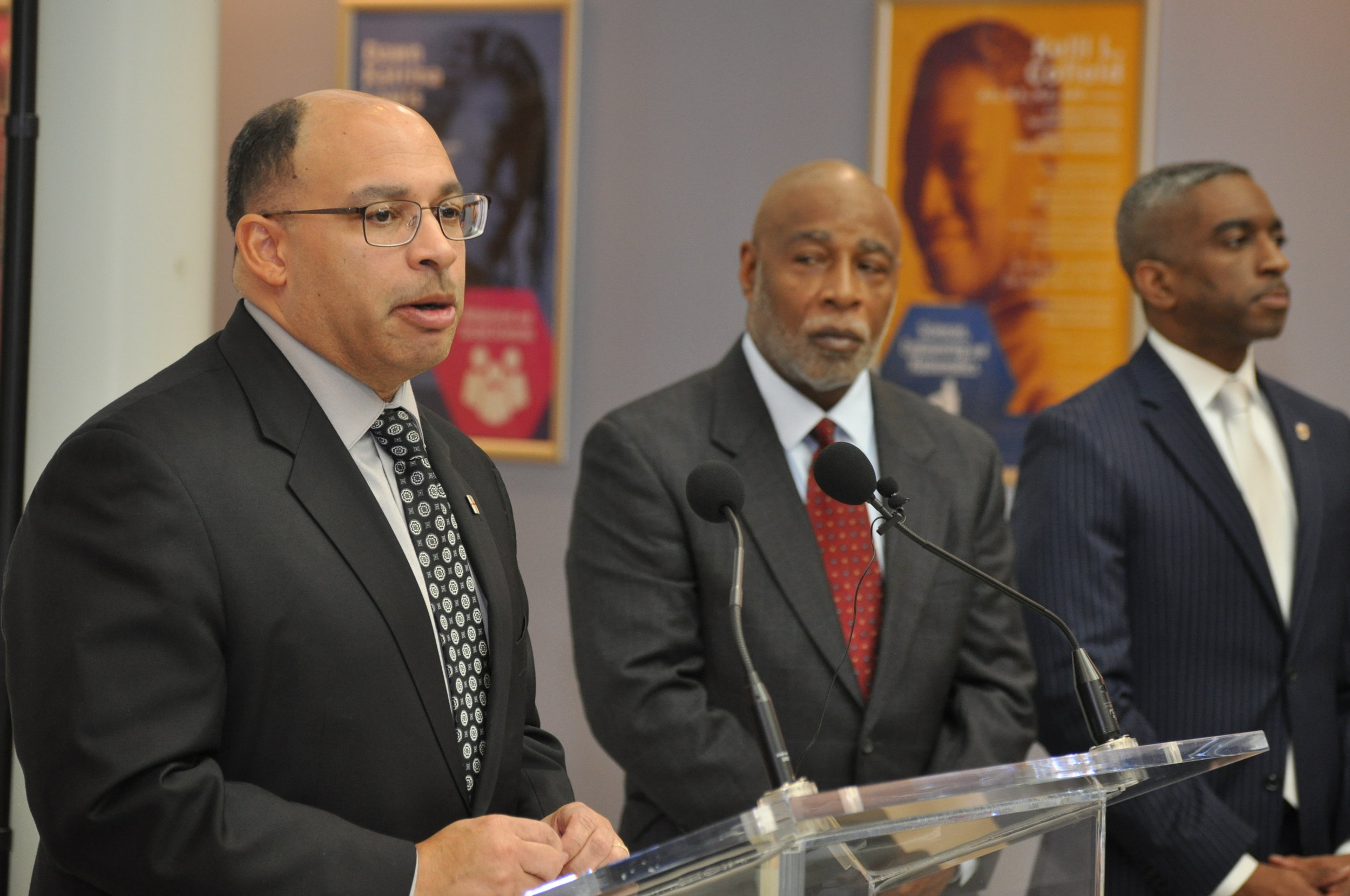 Prince George's County Council Chair Todd Turner (D-Dist. 4)  flanked by Vice Chair Rodney Streeter (D-Dist. 7) and At-Large Councilmember Mel Franklin (D). //  PHOTO: RAOUL DENNIS PRINCE GEORGE'S SUITE MAGAZINE & MEDIA.