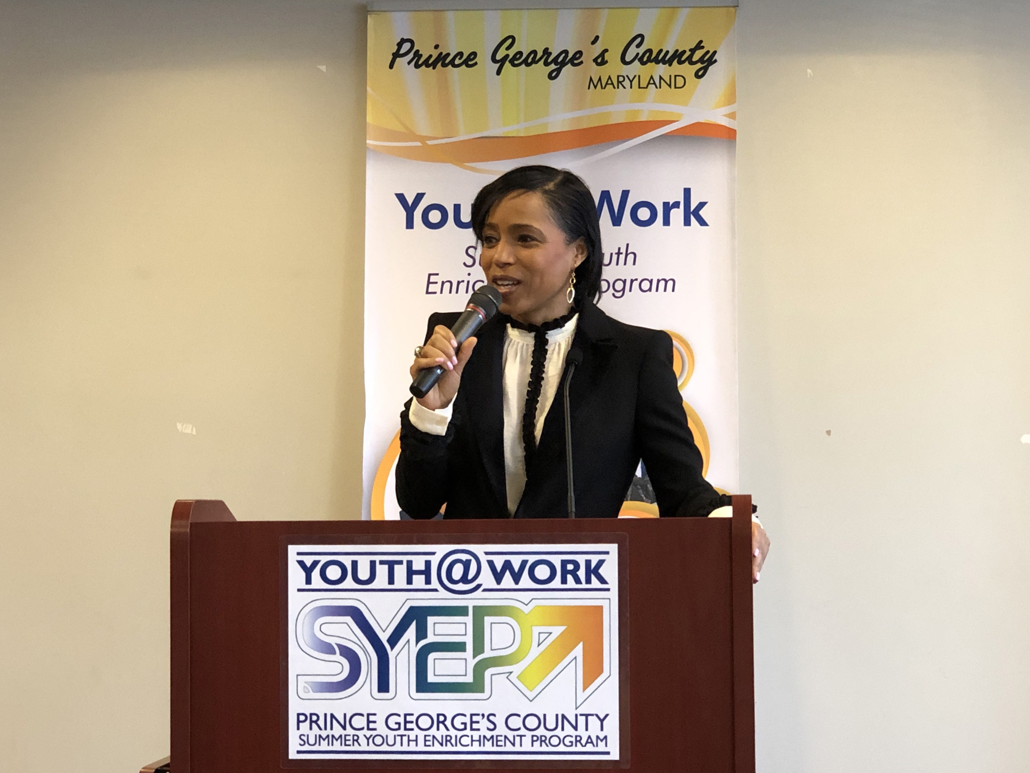 Prince George's County Executive Angela D. Alsobrooks draws over 100 business leaders to her call to increase youth summer jobs from 3,000 to 6,000 this year.  PHOTO: RICHARD MONTGOMERY // RIXSTAR STUDIOS.
