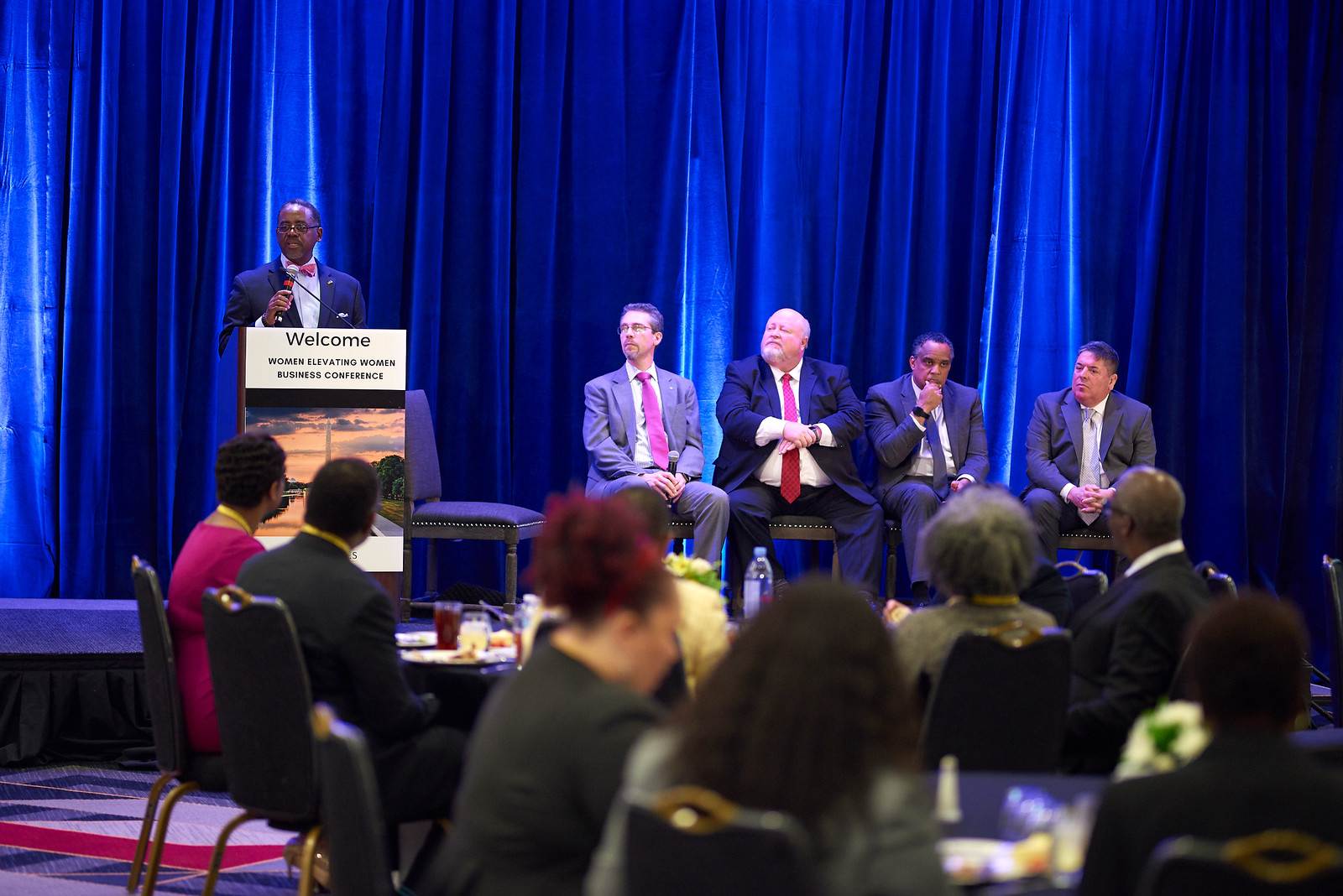 "Women Elevating Women Lunch Panel on ""Men Who Elevate Women and Why""  Left to right:  Marvin Dickerson , president and CEO of Dickerson Technologies, LLC, and former vice chair and board member of 100 Black Men of America, Inc.;  Alexander G. Núñez , senior vice president of regulatory and external affairs at Baltimore Gas and Electric Company;  Rick Hayes , divisional advance sales officer at New York Life Insurance Company;  David Harrington , president and CEO of the Prince George's Chamber of Commerce; and  Rich DiPippo , partner at NFP The Meltzer Group"