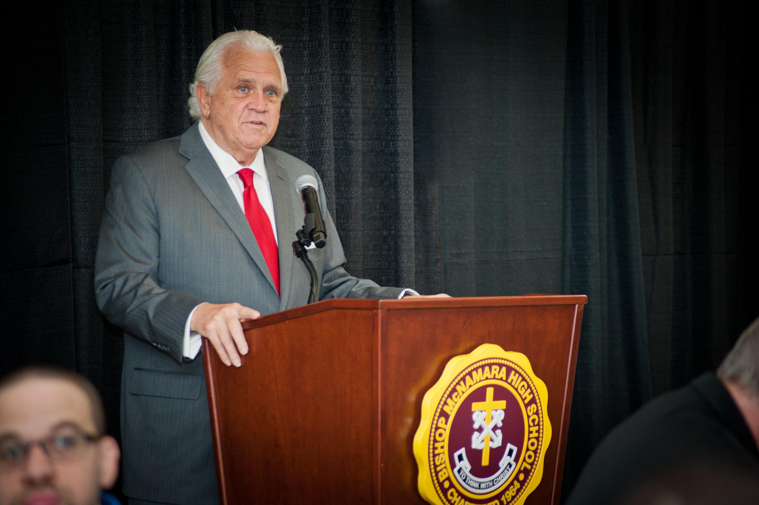 "Maryland State Senate President Thomas V. ""Mike"" Miller sharing remarks at Bishop McNamara High School. PHOTO: Courtesy BMHS"