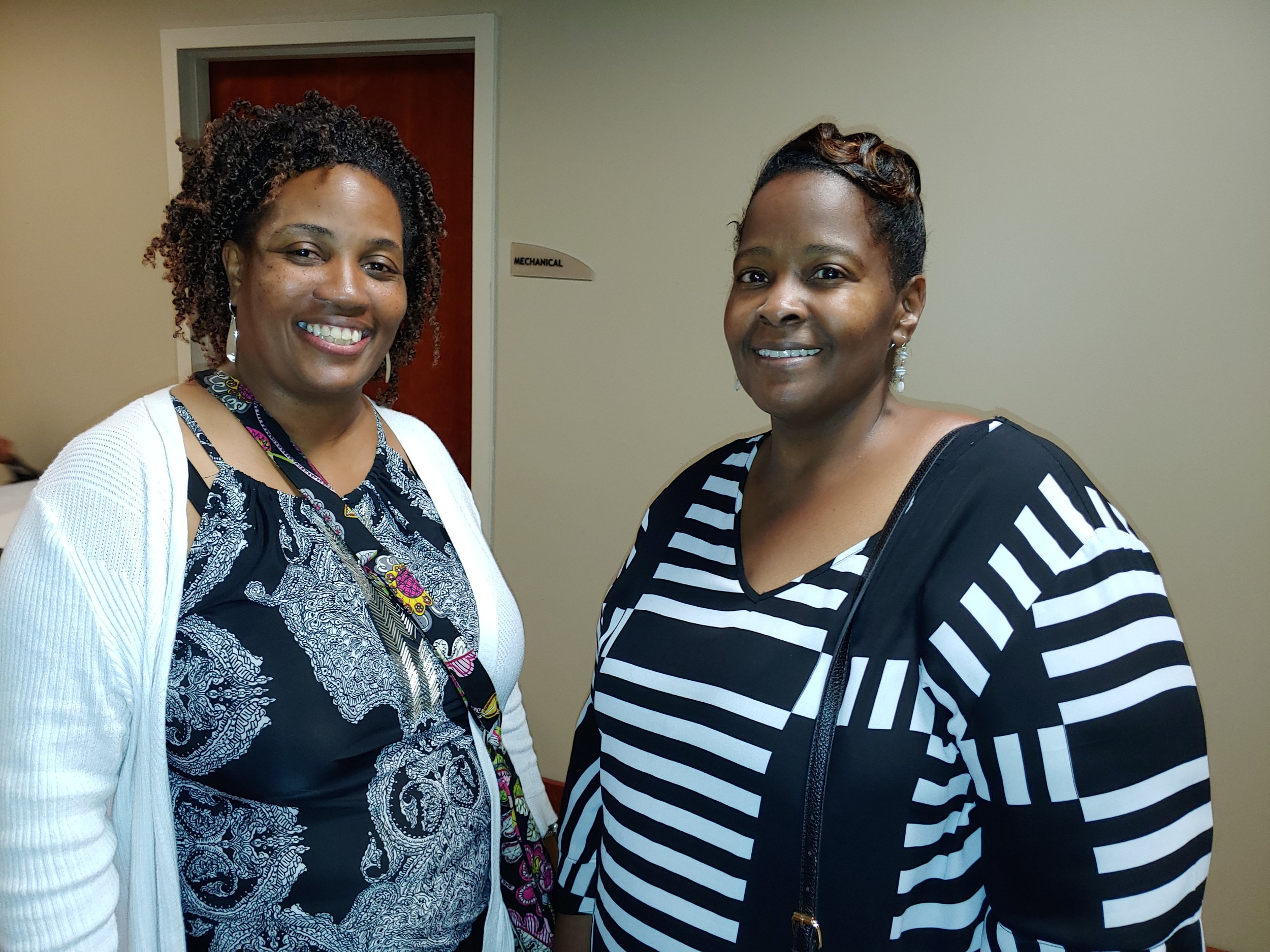 Bridgett Smith (left) and Darlene Gamble of the FBCG Legal Ministry. PHOTO: RAOUL DENNIS PRINCE GEORGE'S SUITE MAGAZINE & MEDIA